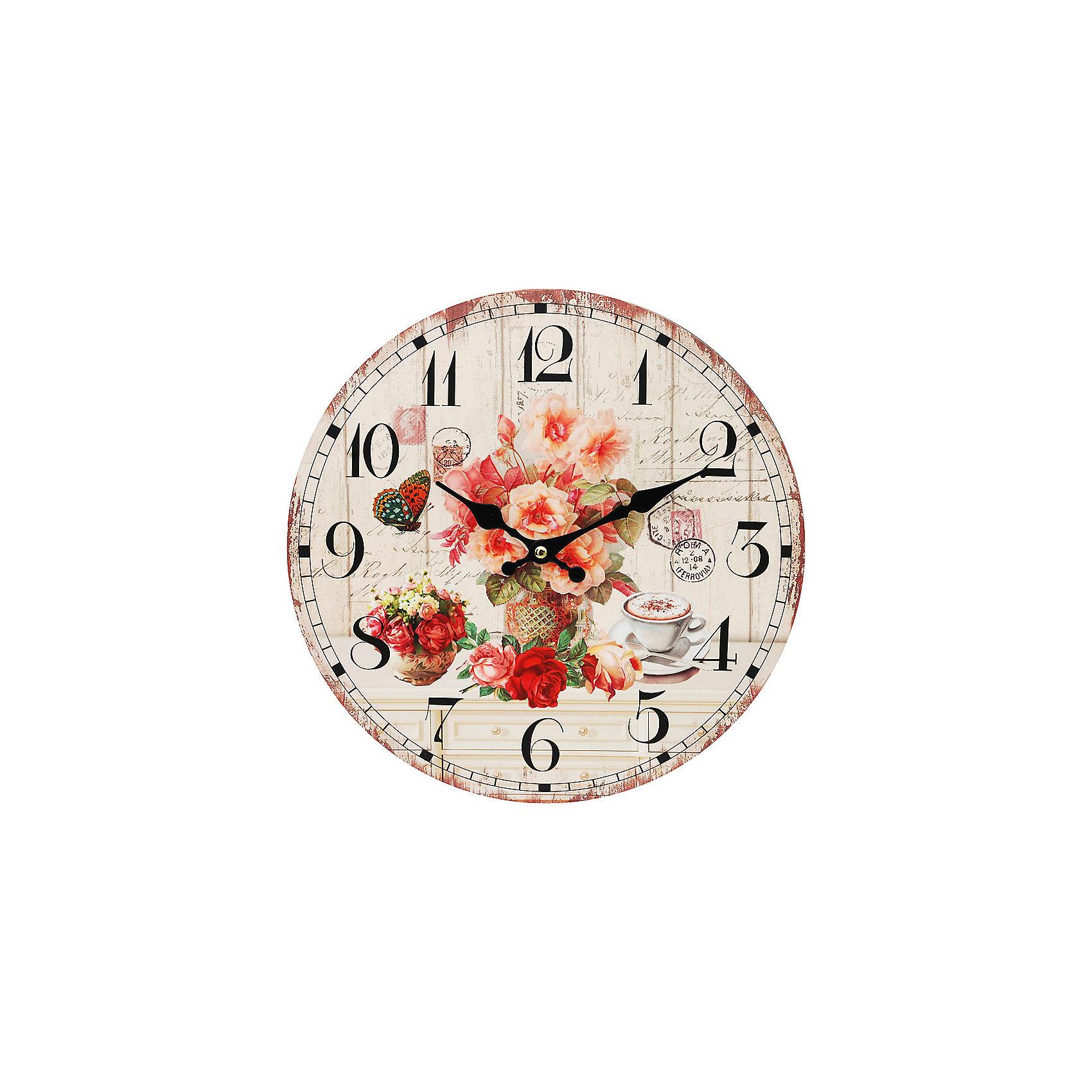 Часы настенные Розы и кофе, диаметр 34 смПредметы интерьера<br>Часы настенные Розы и кофе, диаметр 34 см.<br><br>Характеристики:<br><br>- Диаметр: 34 см.<br>- Две стрелки часовая и минутная<br>- Батарейка: 1 типа АА (в комплект не входит)<br>- Цвет: бледно-розовый, бронзовый, кремовый<br>- Упаковка картонная коробка<br><br>Кварцевые настенные часы с механизмом плавного хода помимо своего прямого назначения – показывать точное время – станут важным элементом декора Вашего дома, квартиры или офиса. Открытый циферблат часов выполнен из листа оргалита с декоративным покрытием, оформлен изображением чашечки кофе и цветочной композиции. Часовая и минутная стрелки металлические. Часовой механизм закрыт пластиковым корпусом. Часы будут стильным акцентом в интерьере и создадут дополнительный уют и хорошее настроение.<br><br>Часы настенные Розы и кофе, диаметр 34 см можно купить в нашем интернет-магазине.<br><br>Ширина мм: 345<br>Глубина мм: 340<br>Высота мм: 45<br>Вес г: 2500<br>Возраст от месяцев: 72<br>Возраст до месяцев: 144<br>Пол: Унисекс<br>Возраст: Детский<br>SKU: 5089820