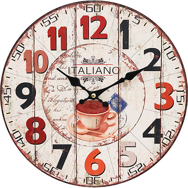 Часы настенные Кофе из Италии, диаметр 34 смДетские предметы интерьера<br>Часы настенные Кофе из Италии, диаметр 34 см.<br><br>Характеристики:<br><br>- Диаметр: 34 см.<br>- Две стрелки часовая и минутная<br>- Батарейка: 1 типа АА (в комплект не входит)<br>- Цвет: бледно-розовый, красный, кремовый<br>- Упаковка картонная коробка<br><br>Кварцевые настенные часы с механизмом плавного хода помимо своего прямого назначения – показывать точное время – станут важным элементом декора Вашего дома, квартиры или офиса. Открытый циферблат часов выполнен из листа оргалита с декоративным покрытием, оформлен изображением чашечки кофе. Часовая и минутная стрелки металлические. Часовой механизм закрыт пластиковым корпусом. Часы будут стильным акцентом в интерьере и создадут дополнительный уют и хорошее настроение.<br><br>Часы настенные Кофе из Италии, диаметр 34 см можно купить в нашем интернет-магазине.<br><br>Ширина мм: 345<br>Глубина мм: 340<br>Высота мм: 45<br>Вес г: 2500<br>Возраст от месяцев: 72<br>Возраст до месяцев: 144<br>Пол: Унисекс<br>Возраст: Детский<br>SKU: 5089821