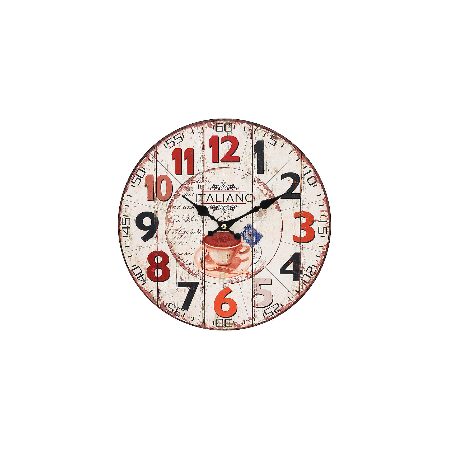 Часы настенные Кофе из Италии, диаметр 34 смПредметы интерьера<br>Часы настенные Кофе из Италии, диаметр 34 см.<br><br>Характеристики:<br><br>- Диаметр: 34 см.<br>- Две стрелки часовая и минутная<br>- Батарейка: 1 типа АА (в комплект не входит)<br>- Цвет: бледно-розовый, красный, кремовый<br>- Упаковка картонная коробка<br><br>Кварцевые настенные часы с механизмом плавного хода помимо своего прямого назначения – показывать точное время – станут важным элементом декора Вашего дома, квартиры или офиса. Открытый циферблат часов выполнен из листа оргалита с декоративным покрытием, оформлен изображением чашечки кофе. Часовая и минутная стрелки металлические. Часовой механизм закрыт пластиковым корпусом. Часы будут стильным акцентом в интерьере и создадут дополнительный уют и хорошее настроение.<br><br>Часы настенные Кофе из Италии, диаметр 34 см можно купить в нашем интернет-магазине.<br><br>Ширина мм: 345<br>Глубина мм: 340<br>Высота мм: 45<br>Вес г: 2500<br>Возраст от месяцев: 72<br>Возраст до месяцев: 144<br>Пол: Унисекс<br>Возраст: Детский<br>SKU: 5089821