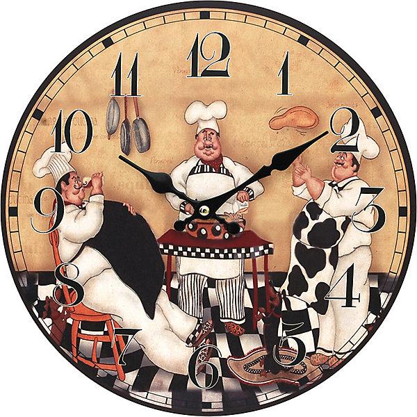 Часы настенные Время печь пироги, диаметр 34 смДетские предметы интерьера<br>Часы настенные Время печь пироги, диаметр 34 см.<br><br>Характеристики:<br><br>- Диаметр: 34 см.<br>- Две стрелки часовая и минутная<br>- Батарейка: 1 типа АА (в комплект не входит)<br>- Цвет: антрацитовый, бледно-розовый, кремовый, черный, белый<br>- Упаковка картонная коробка<br><br>Кварцевые настенные часы с механизмом плавного хода помимо своего прямого назначения – показывать точное время – станут важным элементом декора Вашего дома или квартиры. Открытый циферблат часов выполнен из листа оргалита с декоративным покрытием, оформлен изображением забавной жанровой сценки. Часовая и минутная стрелки металлические. Часовой механизм закрыт пластиковым корпусом. Часы будут ярким акцентом в интерьере и создадут дополнительный уют и хорошее настроение.<br><br>Часы настенные Время печь пироги, диаметр 34 см можно купить в нашем интернет-магазине.<br><br>Ширина мм: 345<br>Глубина мм: 340<br>Высота мм: 45<br>Вес г: 2500<br>Возраст от месяцев: 72<br>Возраст до месяцев: 144<br>Пол: Унисекс<br>Возраст: Детский<br>SKU: 5089822