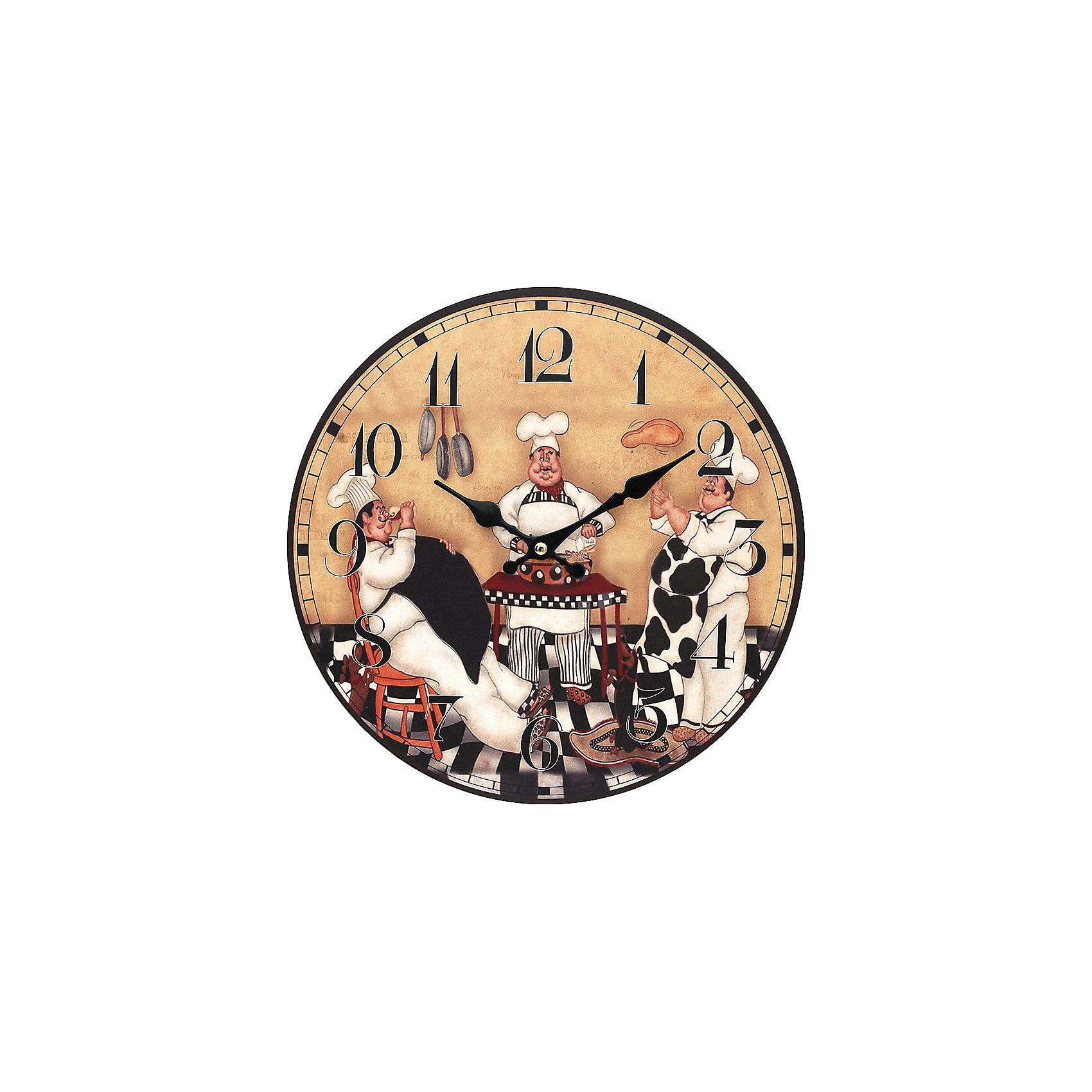Часы настенные Время печь пироги, диаметр 34 смПредметы интерьера<br>Часы настенные Время печь пироги, диаметр 34 см.<br><br>Характеристики:<br><br>- Диаметр: 34 см.<br>- Две стрелки часовая и минутная<br>- Батарейка: 1 типа АА (в комплект не входит)<br>- Цвет: антрацитовый, бледно-розовый, кремовый, черный, белый<br>- Упаковка картонная коробка<br><br>Кварцевые настенные часы с механизмом плавного хода помимо своего прямого назначения – показывать точное время – станут важным элементом декора Вашего дома или квартиры. Открытый циферблат часов выполнен из листа оргалита с декоративным покрытием, оформлен изображением забавной жанровой сценки. Часовая и минутная стрелки металлические. Часовой механизм закрыт пластиковым корпусом. Часы будут ярким акцентом в интерьере и создадут дополнительный уют и хорошее настроение.<br><br>Часы настенные Время печь пироги, диаметр 34 см можно купить в нашем интернет-магазине.<br><br>Ширина мм: 345<br>Глубина мм: 340<br>Высота мм: 45<br>Вес г: 2500<br>Возраст от месяцев: 72<br>Возраст до месяцев: 144<br>Пол: Унисекс<br>Возраст: Детский<br>SKU: 5089822