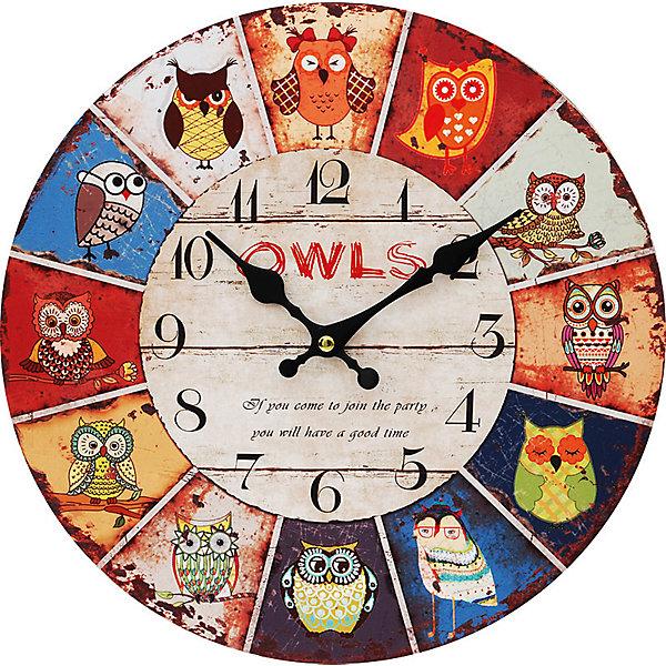 Часы настенные День совы, диаметр 34 смДетские предметы интерьера<br>Часы настенные День совы, диаметр 34 см.<br><br>Характеристики:<br><br>- Диаметр: 34 см.<br>- Две стрелки часовая и минутная<br>- Батарейка: 1 типа АА (в комплект не входит)<br>- Упаковка картонная коробка<br><br>Кварцевые настенные часы с механизмом плавного хода помимо своего прямого назначения – показывать точное время – станут важным элементом декора Вашего дома, квартиры или офиса. Открытый циферблат часов выполнен из листа оргалита с декоративным покрытием, оформлен изображением сов. Часовая и минутная стрелки металлические. Часовой механизм закрыт пластиковым корпусом. Часы будут ярким акцентом в интерьере и создадут дополнительный уют и хорошее настроение.<br><br>Часы настенные День совы, диаметр 34 см можно купить в нашем интернет-магазине.<br>Ширина мм: 345; Глубина мм: 340; Высота мм: 45; Вес г: 2500; Возраст от месяцев: 72; Возраст до месяцев: 144; Пол: Унисекс; Возраст: Детский; SKU: 5089823;