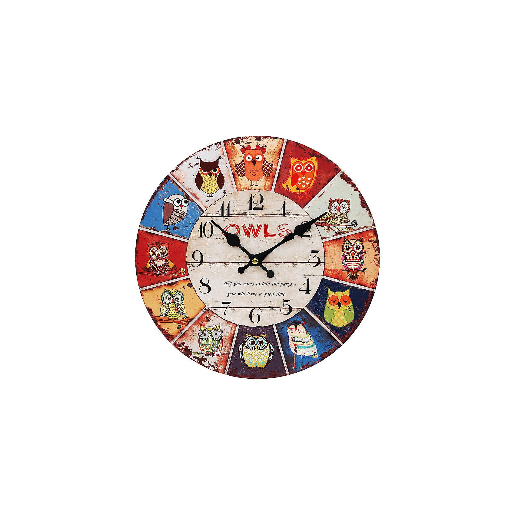 Часы настенные День совы, диаметр 34 смПредметы интерьера<br>Часы настенные День совы, диаметр 34 см.<br><br>Характеристики:<br><br>- Диаметр: 34 см.<br>- Две стрелки часовая и минутная<br>- Батарейка: 1 типа АА (в комплект не входит)<br>- Упаковка картонная коробка<br><br>Кварцевые настенные часы с механизмом плавного хода помимо своего прямого назначения – показывать точное время – станут важным элементом декора Вашего дома, квартиры или офиса. Открытый циферблат часов выполнен из листа оргалита с декоративным покрытием, оформлен изображением сов. Часовая и минутная стрелки металлические. Часовой механизм закрыт пластиковым корпусом. Часы будут ярким акцентом в интерьере и создадут дополнительный уют и хорошее настроение.<br><br>Часы настенные День совы, диаметр 34 см можно купить в нашем интернет-магазине.<br><br>Ширина мм: 345<br>Глубина мм: 340<br>Высота мм: 45<br>Вес г: 2500<br>Возраст от месяцев: 72<br>Возраст до месяцев: 144<br>Пол: Унисекс<br>Возраст: Детский<br>SKU: 5089823