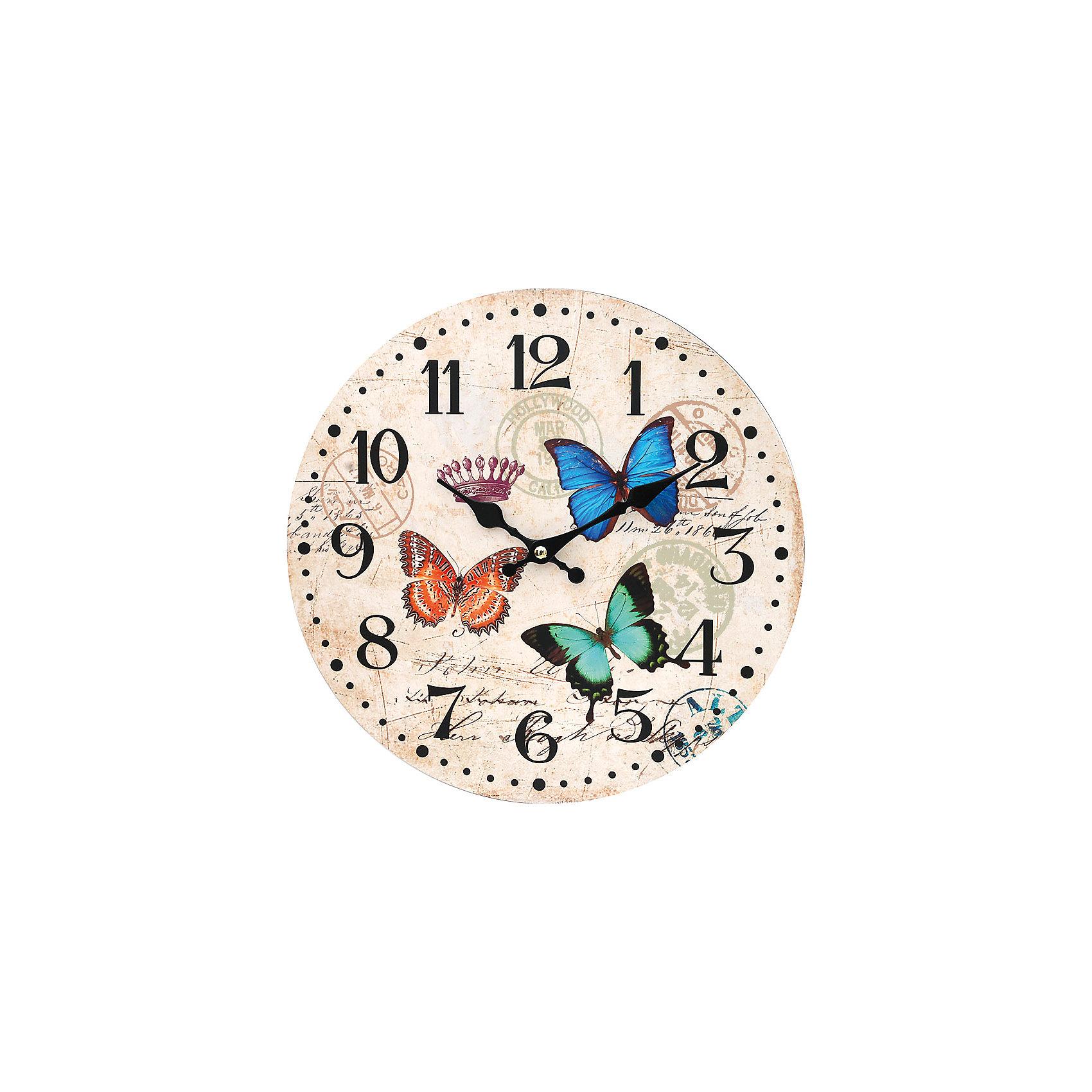 Часы настенные Разноцветные бабочки, диаметр 34 смЧасы настенные Разноцветные бабочки, диаметр 34 см.<br><br>Характеристики:<br><br>- Диаметр: 34 см.<br>- Две стрелки часовая и минутная<br>- Батарейка: 1 типа АА (в комплект не входит)<br>- Основной цвет: кремовый<br>- Упаковка картонная коробка<br><br>Кварцевые настенные часы с механизмом плавного хода помимо своего прямого назначения – показывать точное время – станут важным элементом декора Вашего дома, квартиры или офиса. Открытый циферблат часов выполнен из листа оргалита с декоративным покрытием, оформлен изображением порхающих разноцветных бабочек. Часовая и минутная стрелки металлические. Часовой механизм закрыт пластиковым корпусом. Часы будут ярким акцентом в интерьере и создадут дополнительный уют и хорошее настроение.<br><br>Часы настенные Разноцветные бабочки, диаметр 34 см можно купить в нашем интернет-магазине.<br><br>Ширина мм: 345<br>Глубина мм: 340<br>Высота мм: 45<br>Вес г: 2500<br>Возраст от месяцев: 72<br>Возраст до месяцев: 144<br>Пол: Унисекс<br>Возраст: Детский<br>SKU: 5089824