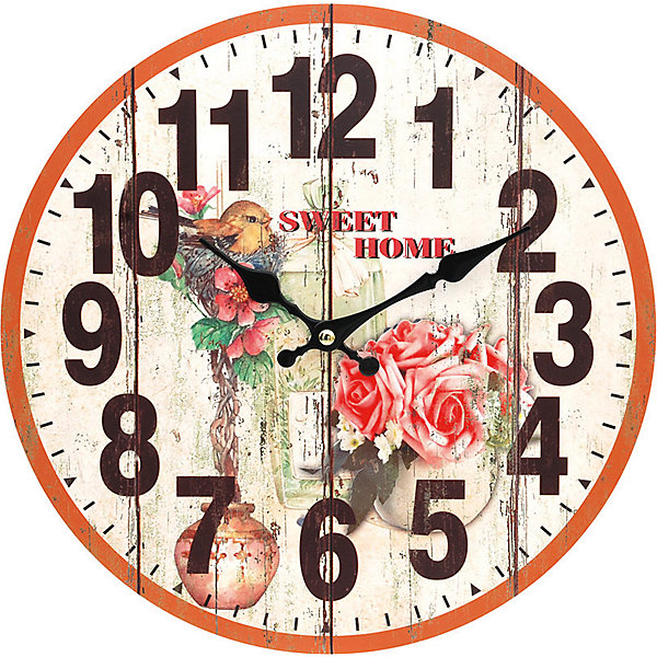 Часы настенные Цветы и птичка, диаметр 34 смДетские предметы интерьера<br>Часы настенные Цветы и птичка, диаметр 34 см.<br><br>Характеристики:<br><br>- Диаметр: 34 см.<br>- Две стрелки часовая и минутная<br>- Батарейка: 1 типа АА (в комплект не входит)<br>- Цвет: антрацитовый, бледно-розовый, кремовый<br>- Упаковка картонная коробка<br><br>Кварцевые настенные часы с механизмом плавного хода помимо своего прямого назначения – показывать точное время – станут важным элементом декора Вашего дома, квартиры или офиса. Открытый циферблат часов выполнен из листа оргалита с декоративным покрытием, оформлен изображением цветочной композиции и птенца, сидящего в гнездышке. Часовая и минутная стрелки металлические. Часовой механизм закрыт пластиковым корпусом. Часы будут стильным акцентом в интерьере и создадут дополнительный уют и хорошее настроение.<br><br>Часы настенные Цветы и птичка, диаметр 34 см можно купить в нашем интернет-магазине.<br><br>Ширина мм: 345<br>Глубина мм: 340<br>Высота мм: 45<br>Вес г: 2500<br>Возраст от месяцев: 72<br>Возраст до месяцев: 144<br>Пол: Унисекс<br>Возраст: Детский<br>SKU: 5089825