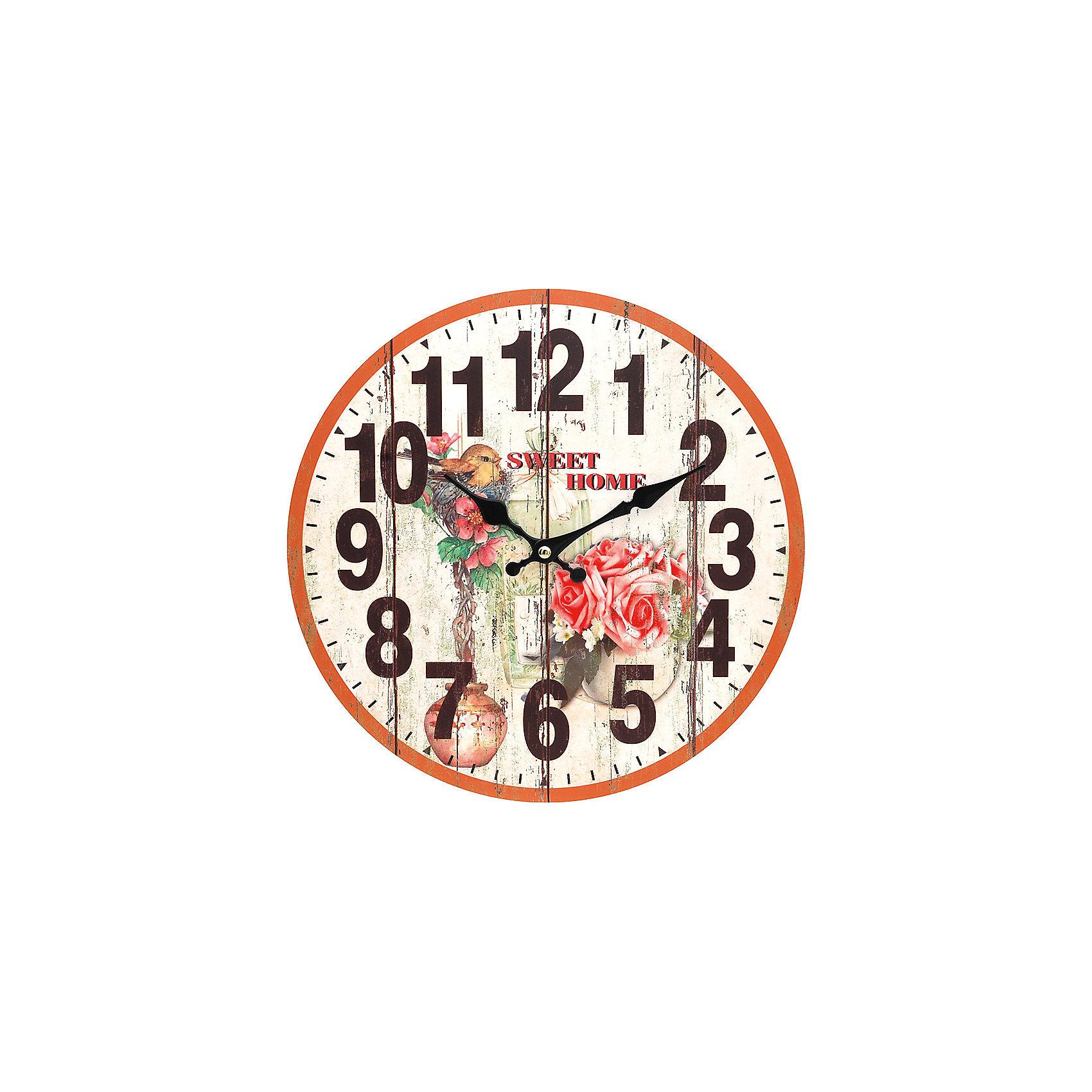 Часы настенные Цветы и птичка, диаметр 34 смПредметы интерьера<br>Часы настенные Цветы и птичка, диаметр 34 см.<br><br>Характеристики:<br><br>- Диаметр: 34 см.<br>- Две стрелки часовая и минутная<br>- Батарейка: 1 типа АА (в комплект не входит)<br>- Цвет: антрацитовый, бледно-розовый, кремовый<br>- Упаковка картонная коробка<br><br>Кварцевые настенные часы с механизмом плавного хода помимо своего прямого назначения – показывать точное время – станут важным элементом декора Вашего дома, квартиры или офиса. Открытый циферблат часов выполнен из листа оргалита с декоративным покрытием, оформлен изображением цветочной композиции и птенца, сидящего в гнездышке. Часовая и минутная стрелки металлические. Часовой механизм закрыт пластиковым корпусом. Часы будут стильным акцентом в интерьере и создадут дополнительный уют и хорошее настроение.<br><br>Часы настенные Цветы и птичка, диаметр 34 см можно купить в нашем интернет-магазине.<br><br>Ширина мм: 345<br>Глубина мм: 340<br>Высота мм: 45<br>Вес г: 2500<br>Возраст от месяцев: 72<br>Возраст до месяцев: 144<br>Пол: Унисекс<br>Возраст: Детский<br>SKU: 5089825