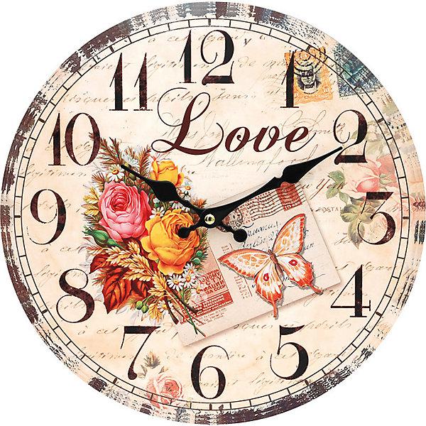 Часы настенные Любовь, диаметр 34 смДетские предметы интерьера<br>Часы настенные Любовь, диаметр 34 см.<br><br>Характеристики:<br><br>- Диаметр: 34 см.<br>- Две стрелки часовая и минутная<br>- Батарейка: 1 типа АА (в комплект не входит)<br>- Цвет: бежевый, бледно-розовый, кремовый<br>- Упаковка картонная коробка<br><br>Кварцевые настенные часы с механизмом плавного хода помимо своего прямого назначения – показывать точное время – станут важным элементом декора Вашего дома, квартиры или офиса. Открытый циферблат часов выполнен из листа оргалита с декоративным покрытием, оформлен изображением цветочной композиции. Часовая и минутная стрелки металлические. Часовой механизм закрыт пластиковым корпусом. Часы будут стильным акцентом в интерьере и создадут дополнительный уют и хорошее настроение.<br><br>Часы настенные Любовь, диаметр 34 см можно купить в нашем интернет-магазине.<br><br>Ширина мм: 345<br>Глубина мм: 340<br>Высота мм: 45<br>Вес г: 2500<br>Возраст от месяцев: 72<br>Возраст до месяцев: 144<br>Пол: Унисекс<br>Возраст: Детский<br>SKU: 5089827
