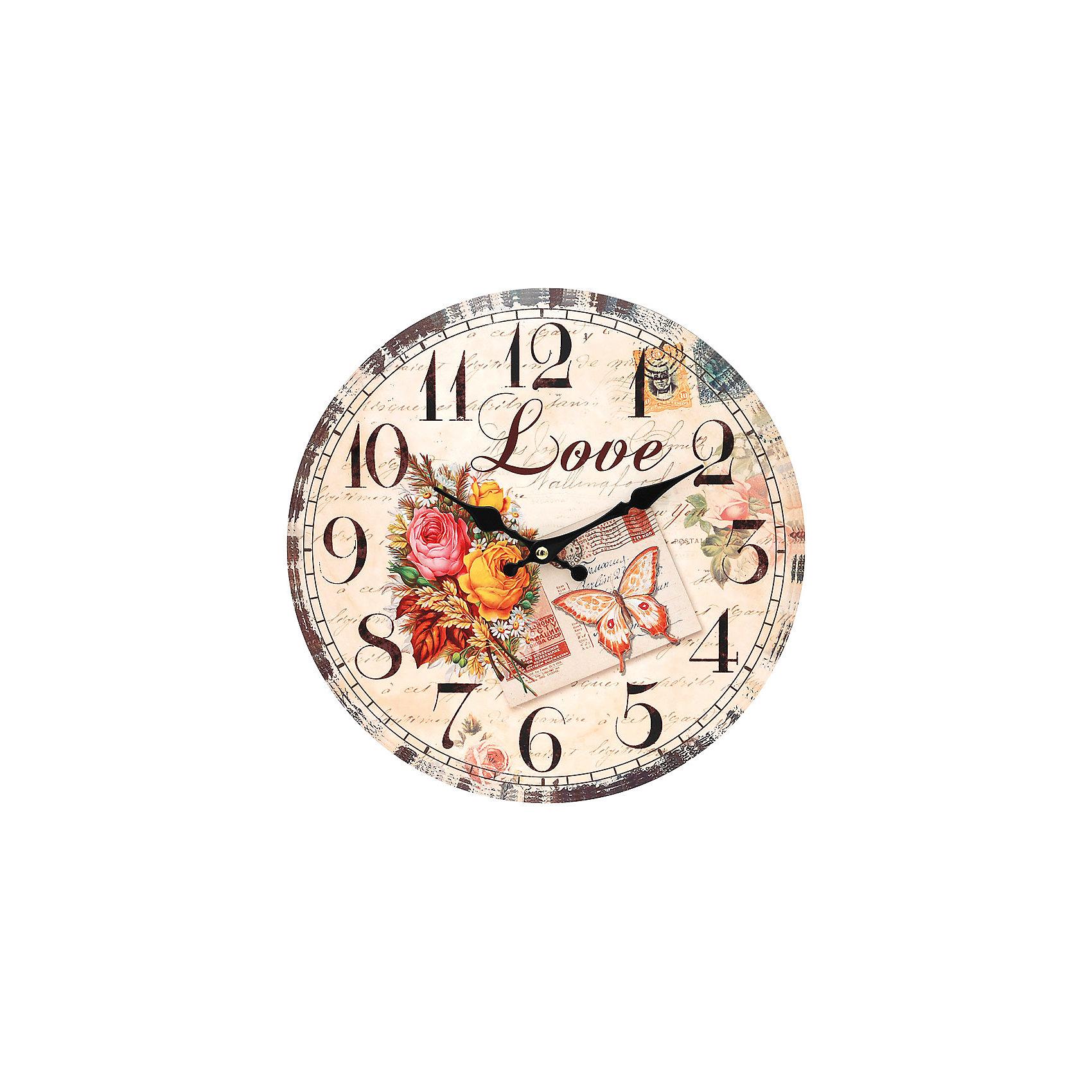Часы настенные Любовь, диаметр 34 смПредметы интерьера<br>Часы настенные Любовь, диаметр 34 см.<br><br>Характеристики:<br><br>- Диаметр: 34 см.<br>- Две стрелки часовая и минутная<br>- Батарейка: 1 типа АА (в комплект не входит)<br>- Цвет: бежевый, бледно-розовый, кремовый<br>- Упаковка картонная коробка<br><br>Кварцевые настенные часы с механизмом плавного хода помимо своего прямого назначения – показывать точное время – станут важным элементом декора Вашего дома, квартиры или офиса. Открытый циферблат часов выполнен из листа оргалита с декоративным покрытием, оформлен изображением цветочной композиции. Часовая и минутная стрелки металлические. Часовой механизм закрыт пластиковым корпусом. Часы будут стильным акцентом в интерьере и создадут дополнительный уют и хорошее настроение.<br><br>Часы настенные Любовь, диаметр 34 см можно купить в нашем интернет-магазине.<br><br>Ширина мм: 345<br>Глубина мм: 340<br>Высота мм: 45<br>Вес г: 2500<br>Возраст от месяцев: 72<br>Возраст до месяцев: 144<br>Пол: Унисекс<br>Возраст: Детский<br>SKU: 5089827