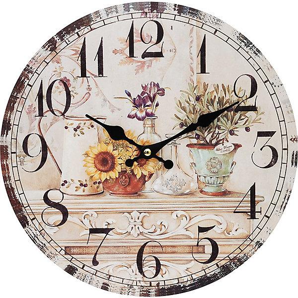 Часы настенные Цветы и олива, диаметр 34 смДетские предметы интерьера<br>Часы настенные Цветы и олива, диаметр 34 см.<br><br>Характеристики:<br><br>- Диаметр: 34 см.<br>- Две стрелки часовая и минутная<br>- Батарейка: 1 типа АА (в комплект не входит)<br>- Цвет: бледно-розовый, кремовый, серо-зеленый<br>- Упаковка картонная коробка<br><br>Кварцевые настенные часы с механизмом плавного хода помимо своего прямого назначения – показывать точное время – станут важным элементом декора Вашего дома, квартиры или офиса. Открытый циферблат часов выполнен из листа оргалита с декоративным покрытием. Часовая и минутная стрелки металлические. Часовой механизм закрыт пластиковым корпусом. Часы будут стильным акцентом в интерьере и создадут дополнительный уют и хорошее настроение.<br><br>Часы настенные Цветы и олива, диаметр 34 см можно купить в нашем интернет-магазине.<br><br>Ширина мм: 345<br>Глубина мм: 340<br>Высота мм: 45<br>Вес г: 2500<br>Возраст от месяцев: 72<br>Возраст до месяцев: 144<br>Пол: Унисекс<br>Возраст: Детский<br>SKU: 5089828