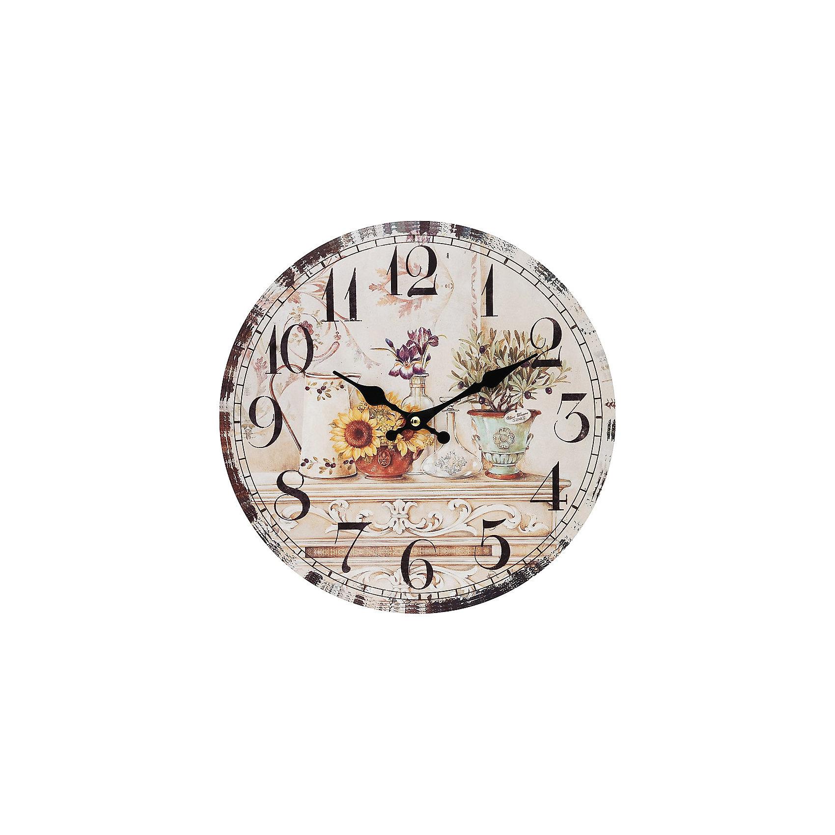 Часы настенные Цветы и олива, диаметр 34 смПредметы интерьера<br>Часы настенные Цветы и олива, диаметр 34 см.<br><br>Характеристики:<br><br>- Диаметр: 34 см.<br>- Две стрелки часовая и минутная<br>- Батарейка: 1 типа АА (в комплект не входит)<br>- Цвет: бледно-розовый, кремовый, серо-зеленый<br>- Упаковка картонная коробка<br><br>Кварцевые настенные часы с механизмом плавного хода помимо своего прямого назначения – показывать точное время – станут важным элементом декора Вашего дома, квартиры или офиса. Открытый циферблат часов выполнен из листа оргалита с декоративным покрытием. Часовая и минутная стрелки металлические. Часовой механизм закрыт пластиковым корпусом. Часы будут стильным акцентом в интерьере и создадут дополнительный уют и хорошее настроение.<br><br>Часы настенные Цветы и олива, диаметр 34 см можно купить в нашем интернет-магазине.<br><br>Ширина мм: 345<br>Глубина мм: 340<br>Высота мм: 45<br>Вес г: 2500<br>Возраст от месяцев: 72<br>Возраст до месяцев: 144<br>Пол: Унисекс<br>Возраст: Детский<br>SKU: 5089828