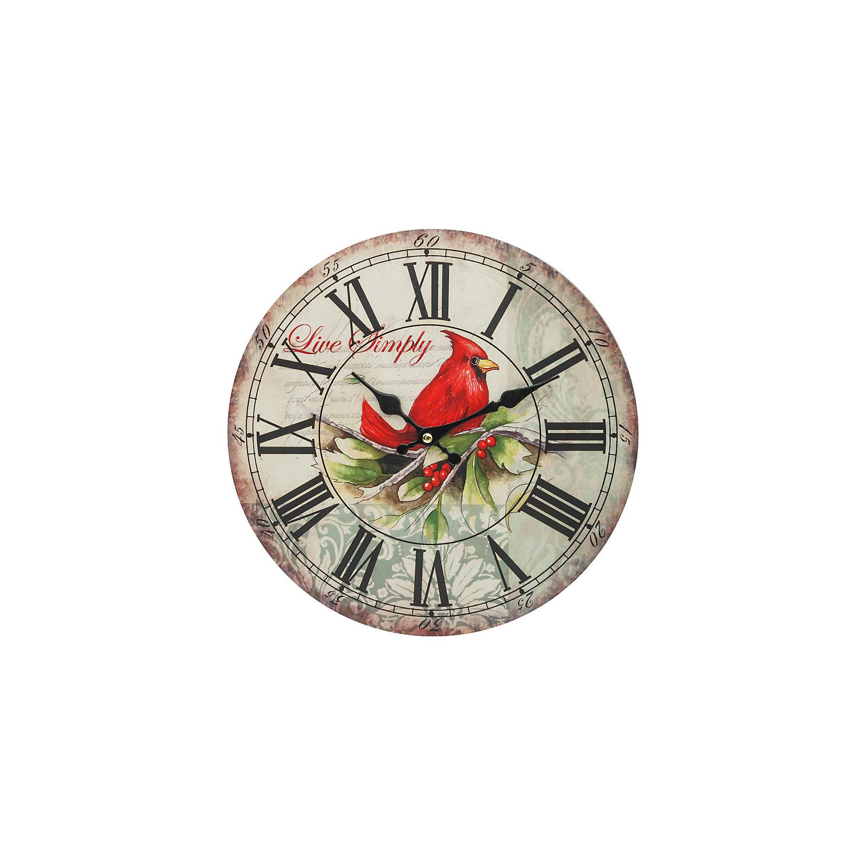 Часы настенные Красный кардинал, диаметр 34 смДетские предметы интерьера<br>Часы настенные Красный кардинал, диаметр 34 см.<br><br>Характеристики:<br><br>- Диаметр: 34 см.<br>- Две стрелки часовая и минутная<br>- Батарейка: 1 типа АА (в комплект не входит)<br>- Основной цвет: серо-зеленый<br>- Упаковка картонная коробка<br><br>Кварцевые настенные часы с механизмом плавного хода помимо своего прямого назначения – показывать точное время – станут важным элементом декора Вашего дома, квартиры или офиса. Открытый циферблат часов выполнен из листа оргалита с декоративным покрытием, оформлен ярким изображением птицы. Часовая и минутная стрелки металлические. Часовой механизм закрыт пластиковым корпусом. Часы будут ярким акцентом в интерьере и создадут дополнительный уют и хорошее настроение.<br><br>Часы настенные Красный кардинал, диаметр 34 см можно купить в нашем интернет-магазине.<br><br>Ширина мм: 345<br>Глубина мм: 340<br>Высота мм: 45<br>Вес г: 2500<br>Возраст от месяцев: 72<br>Возраст до месяцев: 144<br>Пол: Унисекс<br>Возраст: Детский<br>SKU: 5089829