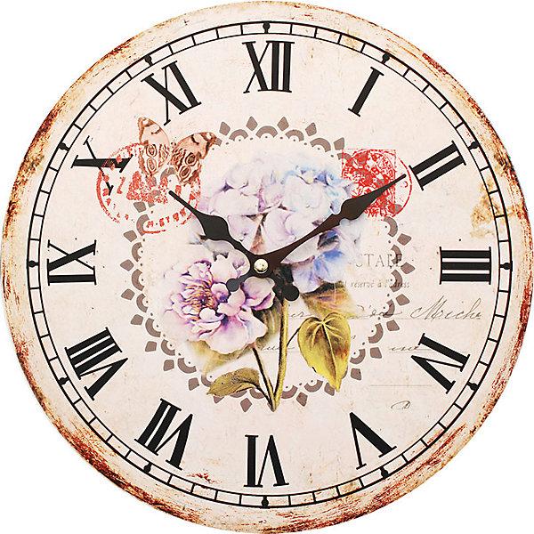 Часы настенные Садовые цветы, диаметр 34 смДетские предметы интерьера<br>Часы настенные Садовые цветы, диаметр 34 см.<br><br>Характеристики:<br><br>- Диаметр: 34 см.<br>- Две стрелки часовая и минутная<br>- Батарейка: 1 типа АА (в комплект не входит)<br>- Цвет: антрацитовый, бледно-розовый, кремовый<br>- Упаковка картонная коробка<br><br>Кварцевые настенные часы с механизмом плавного хода помимо своего прямого назначения – показывать точное время – станут важным элементом декора Вашего дома, квартиры или офиса. Открытый циферблат часов выполнен из листа оргалита с декоративным покрытием, оформлен изображением цветочной композиции. Часовая и минутная стрелки металлические. Часовой механизм закрыт пластиковым корпусом. Часы будут стильным акцентом в интерьере и создадут дополнительный уют и хорошее настроение.<br><br>Часы настенные Садовые цветы, диаметр 34 см можно купить в нашем интернет-магазине.<br>Ширина мм: 345; Глубина мм: 340; Высота мм: 45; Вес г: 2500; Возраст от месяцев: 72; Возраст до месяцев: 144; Пол: Унисекс; Возраст: Детский; SKU: 5089830;