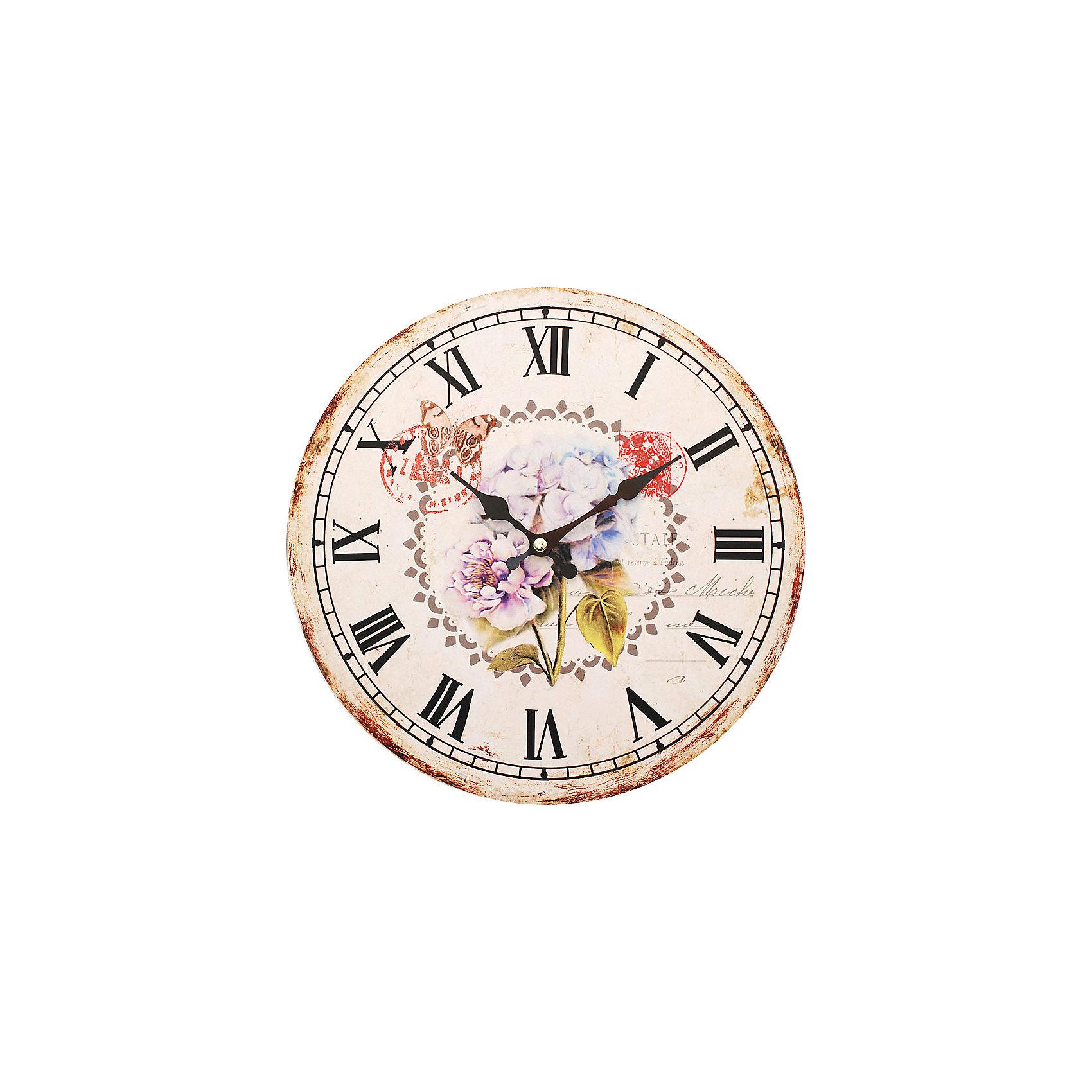 Часы настенные Садовые цветы, диаметр 34 смПредметы интерьера<br>Часы настенные Садовые цветы, диаметр 34 см.<br><br>Характеристики:<br><br>- Диаметр: 34 см.<br>- Две стрелки часовая и минутная<br>- Батарейка: 1 типа АА (в комплект не входит)<br>- Цвет: антрацитовый, бледно-розовый, кремовый<br>- Упаковка картонная коробка<br><br>Кварцевые настенные часы с механизмом плавного хода помимо своего прямого назначения – показывать точное время – станут важным элементом декора Вашего дома, квартиры или офиса. Открытый циферблат часов выполнен из листа оргалита с декоративным покрытием, оформлен изображением цветочной композиции. Часовая и минутная стрелки металлические. Часовой механизм закрыт пластиковым корпусом. Часы будут стильным акцентом в интерьере и создадут дополнительный уют и хорошее настроение.<br><br>Часы настенные Садовые цветы, диаметр 34 см можно купить в нашем интернет-магазине.<br><br>Ширина мм: 345<br>Глубина мм: 340<br>Высота мм: 45<br>Вес г: 2500<br>Возраст от месяцев: 72<br>Возраст до месяцев: 144<br>Пол: Унисекс<br>Возраст: Детский<br>SKU: 5089830