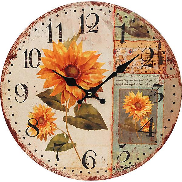Часы настенные Подсолнух, диаметр 34 смДетские предметы интерьера<br>Часы настенные Подсолнух, диаметр 34 см.<br><br>Характеристики:<br><br>- Диаметр: 34 см.<br>- Две стрелки часовая и минутная<br>- Батарейка: 1 типа АА (в комплект не входит)<br>- Цвет: бледно-розовый, темно-коричневый, хаки<br>- Упаковка картонная коробка<br><br>Кварцевые настенные часы с механизмом плавного хода помимо своего прямого назначения – показывать точное время – станут важным элементом декора Вашего дома, квартиры или офиса. Открытый циферблат часов выполнен из листа оргалита с декоративным покрытием, оформлен изображением подсолнухов. Часовая и минутная стрелки металлические. Часовой механизм закрыт пластиковым корпусом. Часы будут ярким акцентом в интерьере и создадут дополнительный уют и хорошее настроение.<br><br>Часы настенные Подсолнух, диаметр 34 см можно купить в нашем интернет-магазине.<br><br>Ширина мм: 345<br>Глубина мм: 340<br>Высота мм: 45<br>Вес г: 2500<br>Возраст от месяцев: 72<br>Возраст до месяцев: 144<br>Пол: Унисекс<br>Возраст: Детский<br>SKU: 5089831