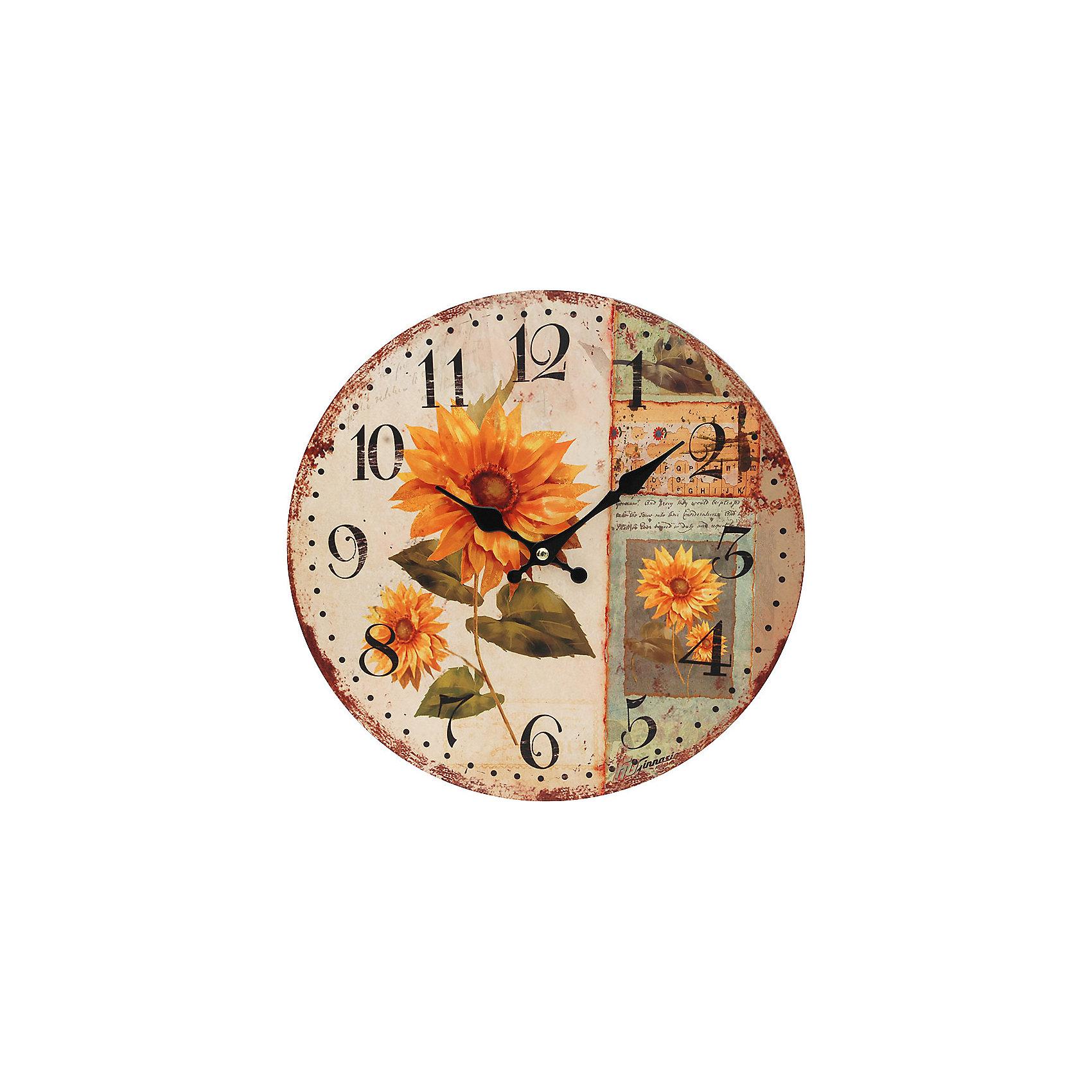 Часы настенные Подсолнух, диаметр 34 смПредметы интерьера<br>Часы настенные Подсолнух, диаметр 34 см.<br><br>Характеристики:<br><br>- Диаметр: 34 см.<br>- Две стрелки часовая и минутная<br>- Батарейка: 1 типа АА (в комплект не входит)<br>- Цвет: бледно-розовый, темно-коричневый, хаки<br>- Упаковка картонная коробка<br><br>Кварцевые настенные часы с механизмом плавного хода помимо своего прямого назначения – показывать точное время – станут важным элементом декора Вашего дома, квартиры или офиса. Открытый циферблат часов выполнен из листа оргалита с декоративным покрытием, оформлен изображением подсолнухов. Часовая и минутная стрелки металлические. Часовой механизм закрыт пластиковым корпусом. Часы будут ярким акцентом в интерьере и создадут дополнительный уют и хорошее настроение.<br><br>Часы настенные Подсолнух, диаметр 34 см можно купить в нашем интернет-магазине.<br><br>Ширина мм: 345<br>Глубина мм: 340<br>Высота мм: 45<br>Вес г: 2500<br>Возраст от месяцев: 72<br>Возраст до месяцев: 144<br>Пол: Унисекс<br>Возраст: Детский<br>SKU: 5089831