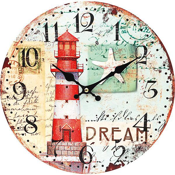 Часы настенные Маяк, диаметр 34 смДетские предметы интерьера<br>Часы настенные Маяк, диаметр 34 см.<br><br>Характеристики:<br><br>- Диаметр: 34 см.<br>- Две стрелки часовая и минутная<br>- Батарейка: 1 типа АА (в комплект не входит)<br>- Цвет: белый, кремовый, серо-зеленый, красный<br>- Упаковка картонная коробка<br><br>Кварцевые настенные часы с механизмом плавного хода помимо своего прямого назначения – показывать точное время – станут важным элементом декора Вашего дома, квартиры или офиса. Открытый циферблат часов выполнен из листа оргалита с декоративным покрытием, оформлен изображением маяка и морской звезды. Часовая и минутная стрелки металлические. Часовой механизм закрыт пластиковым корпусом. Часы будут ярким акцентом в интерьере и создадут дополнительный уют и хорошее настроение.<br><br>Часы настенные Маяк, диаметр 34 см можно купить в нашем интернет-магазине.<br><br>Ширина мм: 345<br>Глубина мм: 340<br>Высота мм: 45<br>Вес г: 2500<br>Возраст от месяцев: 72<br>Возраст до месяцев: 144<br>Пол: Унисекс<br>Возраст: Детский<br>SKU: 5089832