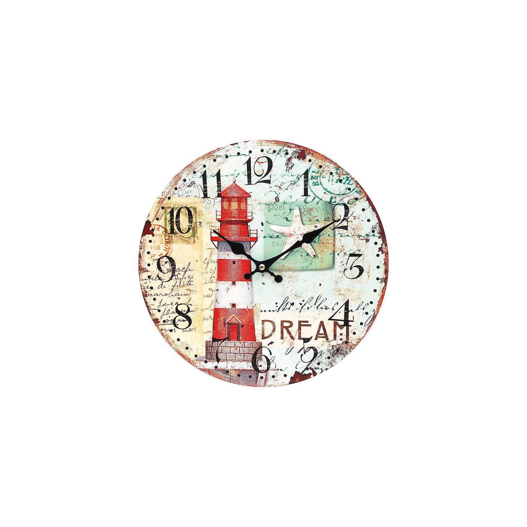 Часы настенные Маяк, диаметр 34 смПредметы интерьера<br>Часы настенные Маяк, диаметр 34 см.<br><br>Характеристики:<br><br>- Диаметр: 34 см.<br>- Две стрелки часовая и минутная<br>- Батарейка: 1 типа АА (в комплект не входит)<br>- Цвет: белый, кремовый, серо-зеленый, красный<br>- Упаковка картонная коробка<br><br>Кварцевые настенные часы с механизмом плавного хода помимо своего прямого назначения – показывать точное время – станут важным элементом декора Вашего дома, квартиры или офиса. Открытый циферблат часов выполнен из листа оргалита с декоративным покрытием, оформлен изображением маяка и морской звезды. Часовая и минутная стрелки металлические. Часовой механизм закрыт пластиковым корпусом. Часы будут ярким акцентом в интерьере и создадут дополнительный уют и хорошее настроение.<br><br>Часы настенные Маяк, диаметр 34 см можно купить в нашем интернет-магазине.<br><br>Ширина мм: 345<br>Глубина мм: 340<br>Высота мм: 45<br>Вес г: 2500<br>Возраст от месяцев: 72<br>Возраст до месяцев: 144<br>Пол: Унисекс<br>Возраст: Детский<br>SKU: 5089832