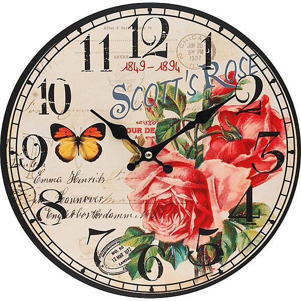 Часы настенные Розовый куст, диаметр 34 смДетские предметы интерьера<br>Часы настенные Розовый куст, диаметр 34 см.<br><br>Характеристики:<br><br>- Диаметр: 34 см.<br>- Две стрелки часовая и минутная<br>- Батарейка: 1 типа АА (в комплект не входит)<br>- Основные цвета: антрацитовый, бледно-розовый, темно-красный<br>- Упаковка картонная коробка<br><br>Кварцевые настенные часы с механизмом плавного хода помимо своего прямого назначения – показывать точное время – станут важным элементом декора Вашего дома, квартиры или офиса. Открытый циферблат часов выполнен из листа оргалита с декоративным покрытием, оформлен изображением цветочной композиции и бабочки. Часовая и минутная стрелки металлические. Часовой механизм закрыт пластиковым корпусом. Часы будут ярким акцентом в интерьере и создадут дополнительный уют и хорошее настроение.<br><br>Часы настенные Розовый куст, диаметр 34 см можно купить в нашем интернет-магазине.<br><br>Ширина мм: 345<br>Глубина мм: 340<br>Высота мм: 45<br>Вес г: 2500<br>Возраст от месяцев: 72<br>Возраст до месяцев: 144<br>Пол: Унисекс<br>Возраст: Детский<br>SKU: 5089833