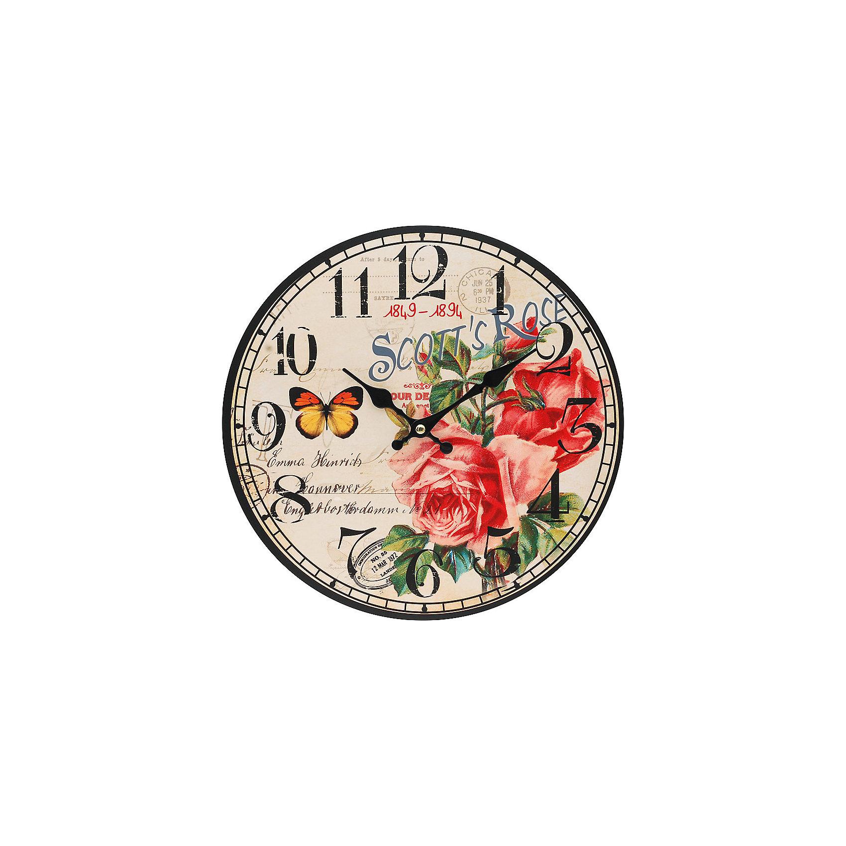 Часы настенные Розовый куст, диаметр 34 смПредметы интерьера<br>Часы настенные Розовый куст, диаметр 34 см.<br><br>Характеристики:<br><br>- Диаметр: 34 см.<br>- Две стрелки часовая и минутная<br>- Батарейка: 1 типа АА (в комплект не входит)<br>- Основные цвета: антрацитовый, бледно-розовый, темно-красный<br>- Упаковка картонная коробка<br><br>Кварцевые настенные часы с механизмом плавного хода помимо своего прямого назначения – показывать точное время – станут важным элементом декора Вашего дома, квартиры или офиса. Открытый циферблат часов выполнен из листа оргалита с декоративным покрытием, оформлен изображением цветочной композиции и бабочки. Часовая и минутная стрелки металлические. Часовой механизм закрыт пластиковым корпусом. Часы будут ярким акцентом в интерьере и создадут дополнительный уют и хорошее настроение.<br><br>Часы настенные Розовый куст, диаметр 34 см можно купить в нашем интернет-магазине.<br><br>Ширина мм: 345<br>Глубина мм: 340<br>Высота мм: 45<br>Вес г: 2500<br>Возраст от месяцев: 72<br>Возраст до месяцев: 144<br>Пол: Унисекс<br>Возраст: Детский<br>SKU: 5089833