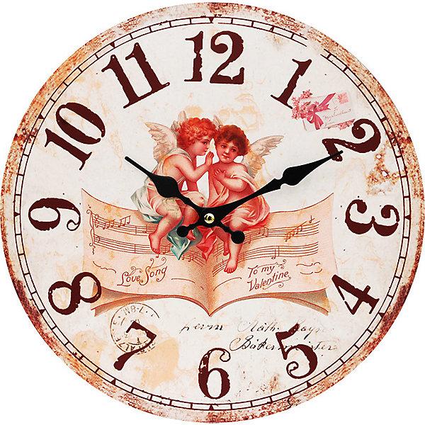 Часы настенные Музыка ангелов, диаметр 34 смДетские предметы интерьера<br>Часы настенные Музыка ангелов, диаметр 34 см.<br><br>Характеристики:<br><br>- Диаметр: 34 см.<br>- Две стрелки часовая и минутная<br>- Батарейка: 1 типа АА (в комплект не входит)<br>- Основные цвета: бежевый, бледно-розовый, кремовый<br>- Упаковка картонная коробка<br><br>Кварцевые настенные часы с механизмом плавного хода помимо своего прямого назначения – показывать точное время – станут важным элементом декора Вашего дома, квартиры или офиса. Открытый циферблат часов выполнен из листа оргалита с декоративным покрытием, оформлен изображением милых ангелочков, сидящих на нотной тетради. Часовая и минутная стрелки металлические. Часовой механизм закрыт пластиковым корпусом. Часы будут ярким акцентом в интерьере и создадут дополнительный уют и хорошее настроение.<br><br>Часы настенные Музыка ангелов, диаметр 34 см можно купить в нашем интернет-магазине.<br>Ширина мм: 345; Глубина мм: 340; Высота мм: 45; Вес г: 2500; Возраст от месяцев: 72; Возраст до месяцев: 144; Пол: Унисекс; Возраст: Детский; SKU: 5089834;
