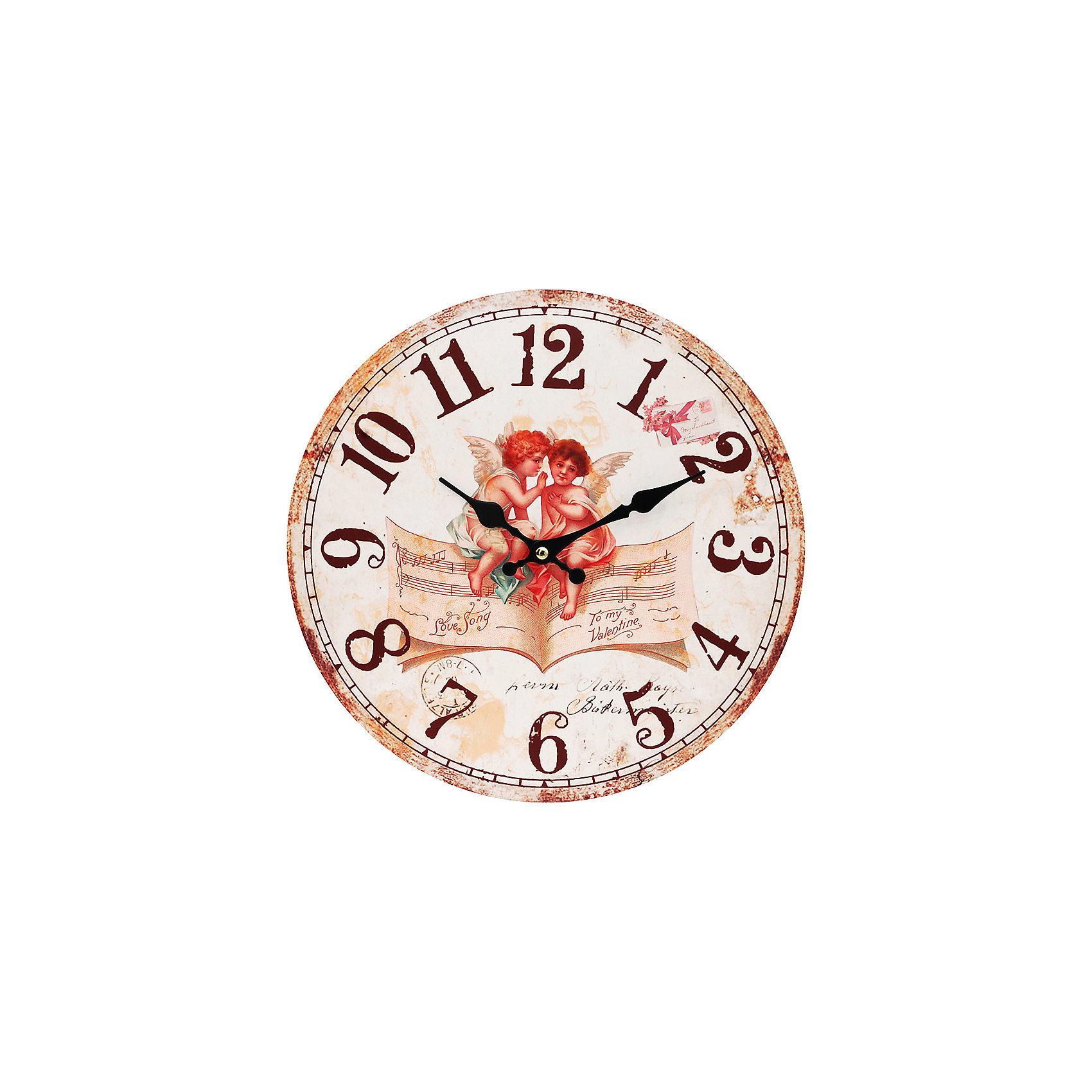 Часы настенные Музыка ангелов, диаметр 34 смПредметы интерьера<br>Часы настенные Музыка ангелов, диаметр 34 см.<br><br>Характеристики:<br><br>- Диаметр: 34 см.<br>- Две стрелки часовая и минутная<br>- Батарейка: 1 типа АА (в комплект не входит)<br>- Основные цвета: бежевый, бледно-розовый, кремовый<br>- Упаковка картонная коробка<br><br>Кварцевые настенные часы с механизмом плавного хода помимо своего прямого назначения – показывать точное время – станут важным элементом декора Вашего дома, квартиры или офиса. Открытый циферблат часов выполнен из листа оргалита с декоративным покрытием, оформлен изображением милых ангелочков, сидящих на нотной тетради. Часовая и минутная стрелки металлические. Часовой механизм закрыт пластиковым корпусом. Часы будут ярким акцентом в интерьере и создадут дополнительный уют и хорошее настроение.<br><br>Часы настенные Музыка ангелов, диаметр 34 см можно купить в нашем интернет-магазине.<br><br>Ширина мм: 345<br>Глубина мм: 340<br>Высота мм: 45<br>Вес г: 2500<br>Возраст от месяцев: 72<br>Возраст до месяцев: 144<br>Пол: Унисекс<br>Возраст: Детский<br>SKU: 5089834