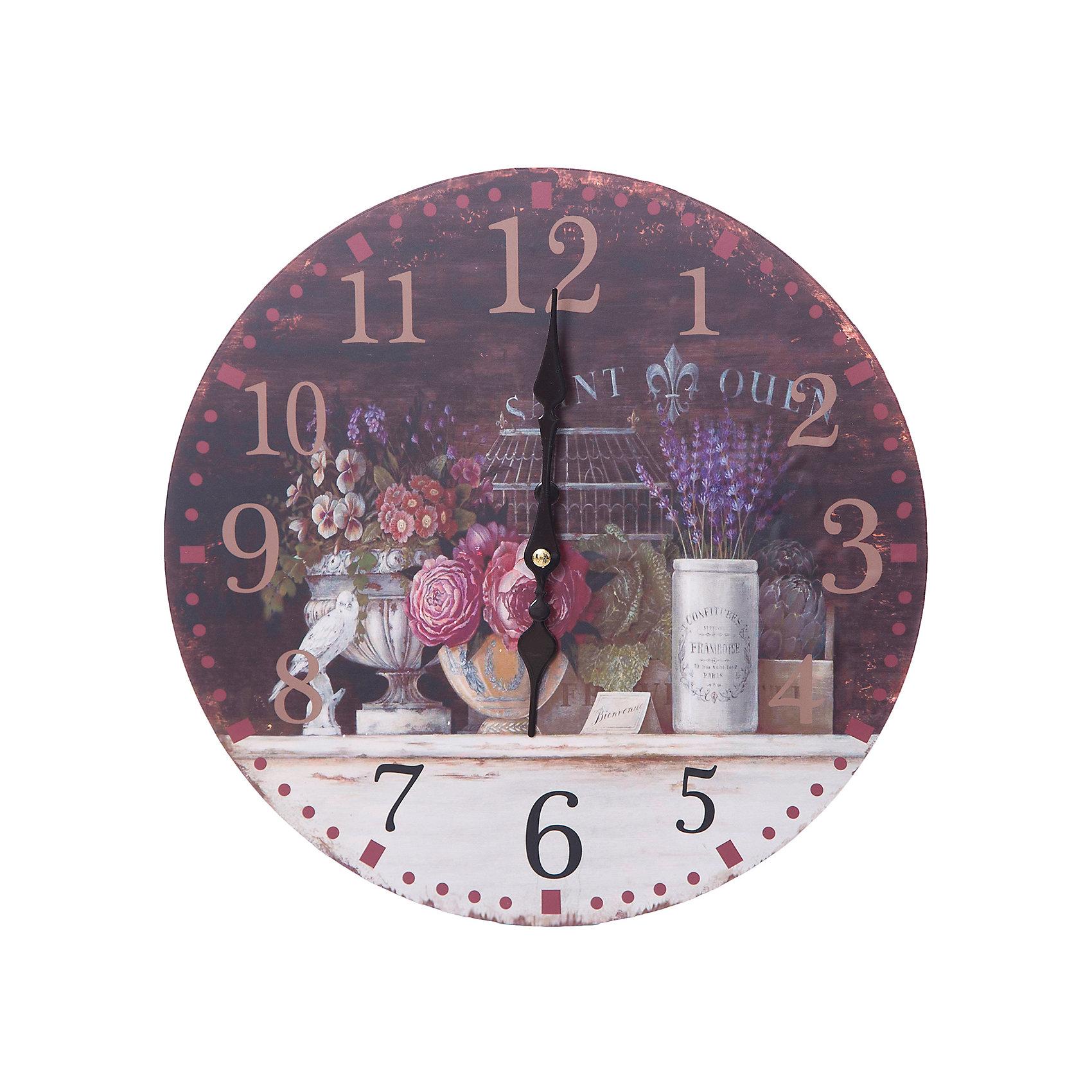 Часы настенные Вечерний Прованс, диаметр 34 смДетские предметы интерьера<br>Часы настенные Вечерний Прованс, диаметр 34 см.<br><br>Характеристики:<br><br>- Диаметр: 34 см.<br>- Две стрелки часовая и минутная<br>- Батарейка: 1 типа АА (в комплект не входит)<br>- Основные цвета: антрацитовый, кремовый, темно-коричневый<br>- Упаковка картонная коробка<br><br>Кварцевые настенные часы с механизмом плавного хода помимо своего прямого назначения – показывать точное время – станут важным элементом декора Вашего дома, квартиры или офиса. Открытый циферблат часов выполнен из листа оргалита с декоративным покрытием, оформлен изображением в прованском стиле. Часовая и минутная стрелки металлические. Часовой механизм закрыт пластиковым корпусом. Часы будут ярким акцентом в интерьере и создадут дополнительный уют и хорошее настроение.<br><br>Часы настенные Вечерний Прованс, диаметр 34 см можно купить в нашем интернет-магазине.<br><br>Ширина мм: 345<br>Глубина мм: 340<br>Высота мм: 45<br>Вес г: 2500<br>Возраст от месяцев: 72<br>Возраст до месяцев: 144<br>Пол: Унисекс<br>Возраст: Детский<br>SKU: 5089835