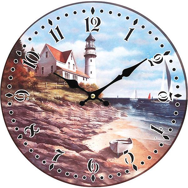 Часы настенные На берегу моря, диаметр 34 смДетские предметы интерьера<br>Часы настенные На берегу моря, диаметр 34 см.<br><br>Характеристики:<br><br>- Диаметр: 34 см.<br>- Две стрелки часовая и минутная<br>- Батарейка: 1 типа АА (в комплект не входит)<br>- Основные цвета: бронзовый, голубой, кремовый<br>- Упаковка картонная коробка<br><br>Кварцевые настенные часы с механизмом плавного хода помимо своего прямого назначения – показывать точное время – станут важным элементом декора Вашего дома, квартиры или офиса. Открытый циферблат часов выполнен из листа оргалита с декоративным покрытием, оформлен изображением морского пейзажа. Часовая и минутная стрелки металлические. Часовой механизм закрыт пластиковым корпусом. Часы будут ярким акцентом в интерьере и создадут дополнительный уют и хорошее настроение.<br><br>Часы настенные На берегу моря, диаметр 34 см можно купить в нашем интернет-магазине.<br>Ширина мм: 345; Глубина мм: 340; Высота мм: 45; Вес г: 2500; Возраст от месяцев: 72; Возраст до месяцев: 144; Пол: Унисекс; Возраст: Детский; SKU: 5089836;