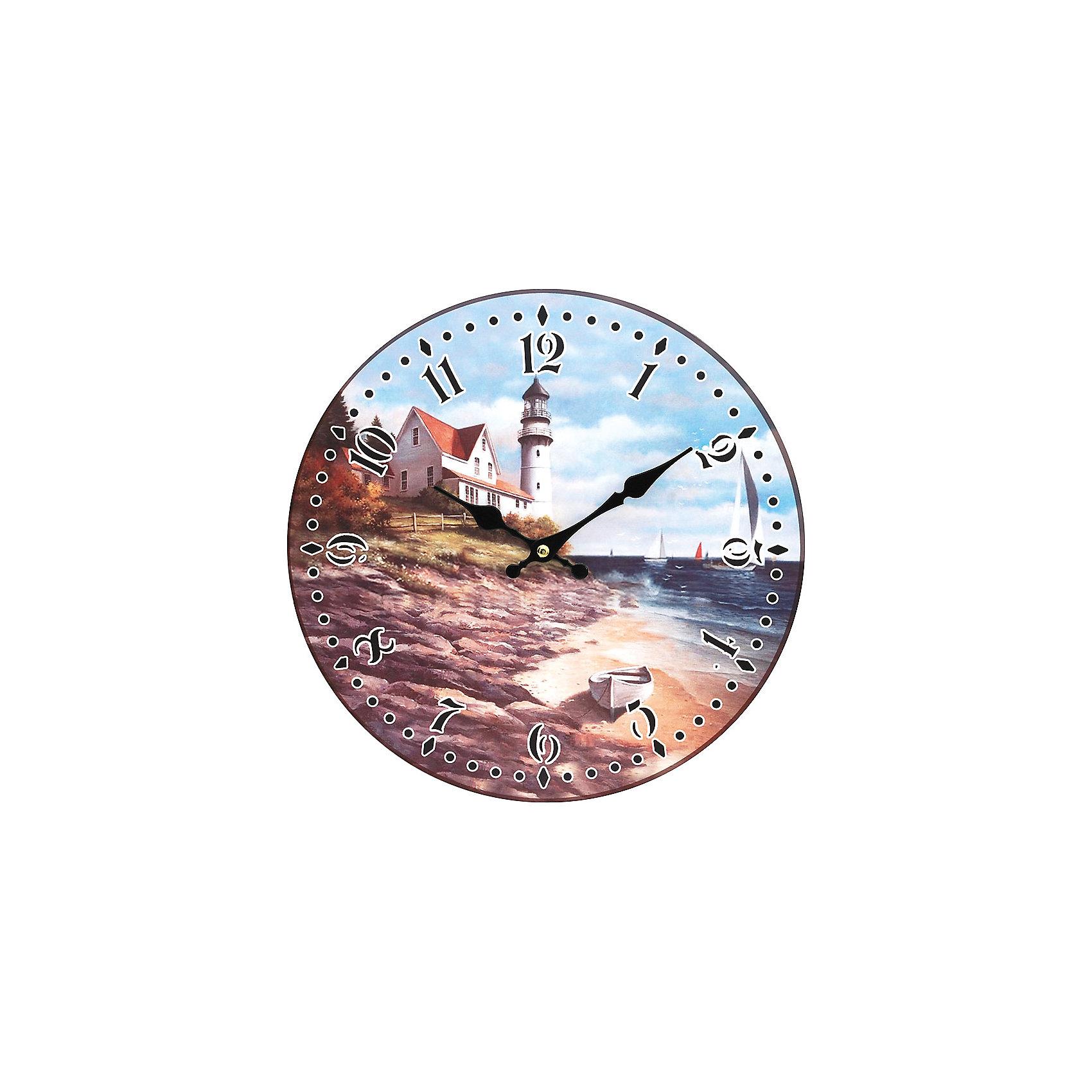 Часы настенные На берегу моря, диаметр 34 смЧасы настенные На берегу моря, диаметр 34 см.<br><br>Характеристики:<br><br>- Диаметр: 34 см.<br>- Две стрелки часовая и минутная<br>- Батарейка: 1 типа АА (в комплект не входит)<br>- Основные цвета: бронзовый, голубой, кремовый<br>- Упаковка картонная коробка<br><br>Кварцевые настенные часы с механизмом плавного хода помимо своего прямого назначения – показывать точное время – станут важным элементом декора Вашего дома, квартиры или офиса. Открытый циферблат часов выполнен из листа оргалита с декоративным покрытием, оформлен изображением морского пейзажа. Часовая и минутная стрелки металлические. Часовой механизм закрыт пластиковым корпусом. Часы будут ярким акцентом в интерьере и создадут дополнительный уют и хорошее настроение.<br><br>Часы настенные На берегу моря, диаметр 34 см можно купить в нашем интернет-магазине.<br><br>Ширина мм: 345<br>Глубина мм: 340<br>Высота мм: 45<br>Вес г: 2500<br>Возраст от месяцев: 72<br>Возраст до месяцев: 144<br>Пол: Унисекс<br>Возраст: Детский<br>SKU: 5089836