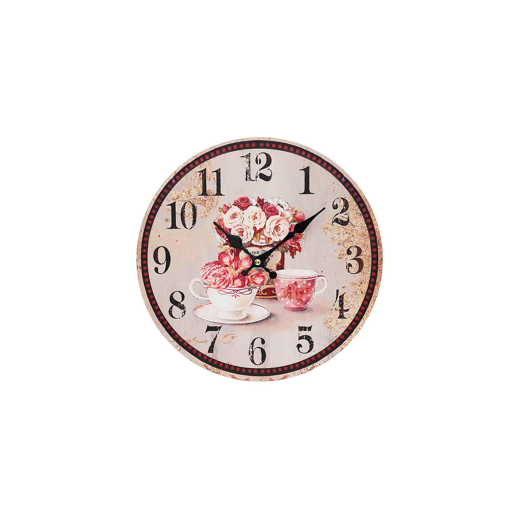 Часы настенные Розы, диаметр 34 смПредметы интерьера<br>Часы настенные Розы, диаметр 34 см.<br><br>Характеристики:<br><br>- Диаметр: 34 см.<br>- Две стрелки часовая и минутная<br>- Батарейка: 1 типа АА (в комплект не входит)<br>- Основные цвета: бледно-розовый, кремовый, сиреневый<br>- Упаковка картонная коробка<br><br>Кварцевые настенные часы с механизмом плавного хода помимо своего прямого назначения – показывать точное время – станут важным элементом декора Вашего дома, квартиры или офиса. Открытый циферблат часов выполнен из листа оргалита с декоративным покрытием, оформлен изображением цветочной композиции и чашек. Часовая и минутная стрелки металлические. Часовой механизм закрыт пластиковым корпусом. Часы будут стильным акцентом в интерьере и создадут дополнительный уют и хорошее настроение.<br><br>Часы настенные Розы, диаметр 34 см можно купить в нашем интернет-магазине.<br><br>Ширина мм: 345<br>Глубина мм: 340<br>Высота мм: 45<br>Вес г: 2500<br>Возраст от месяцев: 72<br>Возраст до месяцев: 144<br>Пол: Унисекс<br>Возраст: Детский<br>SKU: 5089837