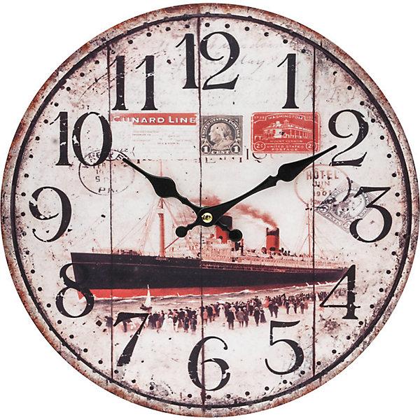 Часы настенные Пароход, диаметр 34 смДетские предметы интерьера<br>Часы настенные Пароход, диаметр 34 см.<br><br>Характеристики:<br><br>- Диаметр: 34 см.<br>- Две стрелки часовая и минутная<br>- Батарейка: 1 типа АА (в комплект не входит)<br>- Основные цвета: антрацитовый, бледно-розовый, кремовый<br>- Упаковка картонная коробка<br><br>Кварцевые настенные часы с механизмом плавного хода помимо своего прямого назначения – показывать точное время – станут важным элементом декора Вашего дома, квартиры или офиса. Открытый циферблат часов выполнен из листа оргалита с декоративным покрытием, оформлен изображением парохода. Часовая и минутная стрелки металлические. Часовой механизм закрыт пластиковым корпусом. Часы будут ярким акцентом в интерьере и создадут дополнительный уют и хорошее настроение.<br><br>Часы настенные Пароход, диаметр 34 см можно купить в нашем интернет-магазине.<br><br>Ширина мм: 345<br>Глубина мм: 340<br>Высота мм: 45<br>Вес г: 2500<br>Возраст от месяцев: 72<br>Возраст до месяцев: 144<br>Пол: Унисекс<br>Возраст: Детский<br>SKU: 5089838