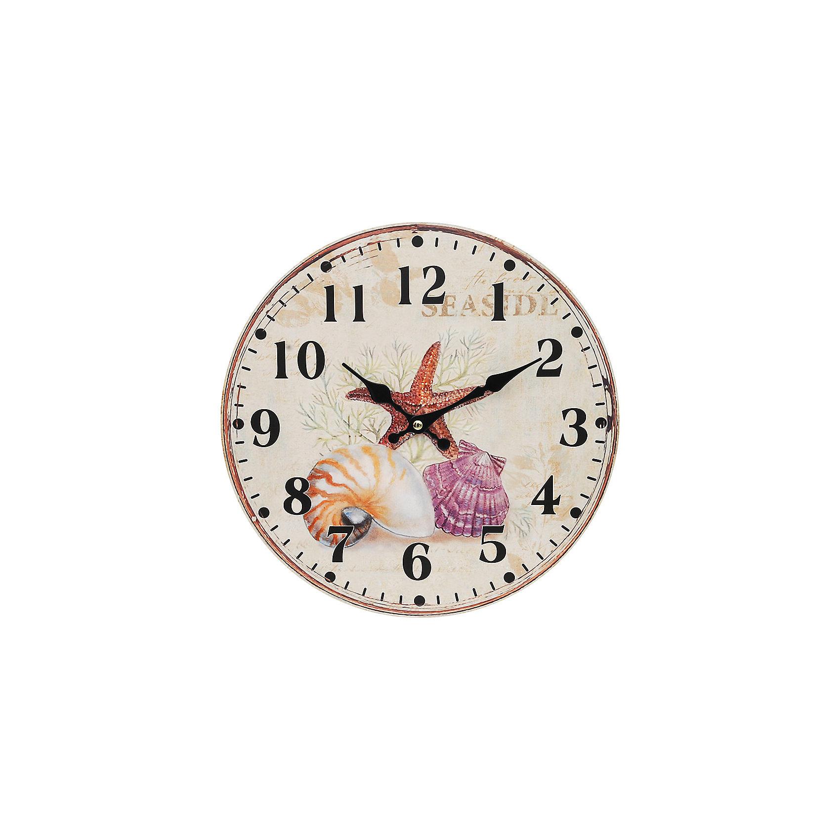 Часы настенные Морские сокровища, диаметр 34 смПредметы интерьера<br>Часы настенные Морские сокровища, диаметр 34 см.<br><br>Характеристики:<br><br>- Диаметр: 34 см.<br>- Две стрелки часовая и минутная<br>- Батарейка: 1 типа АА (в комплект не входит)<br>- Основные цвета: бледно-розовый, кремовый, серо-зеленый<br>- Упаковка картонная коробка<br><br>Кварцевые настенные часы с механизмом плавного хода помимо своего прямого назначения – показывать точное время – станут важным элементом декора Вашего дома, квартиры или офиса. Открытый циферблат часов выполнен из листа оргалита с декоративным покрытием, оформлен изображением ракушек. Часовая и минутная стрелки металлические. Часовой механизм закрыт пластиковым корпусом. Часы будут ярким акцентом в интерьере и создадут дополнительный уют и хорошее настроение.<br><br>Часы настенные Морские сокровища, диаметр 34 см можно купить в нашем интернет-магазине.<br><br>Ширина мм: 345<br>Глубина мм: 340<br>Высота мм: 45<br>Вес г: 2500<br>Возраст от месяцев: 72<br>Возраст до месяцев: 144<br>Пол: Унисекс<br>Возраст: Детский<br>SKU: 5089839