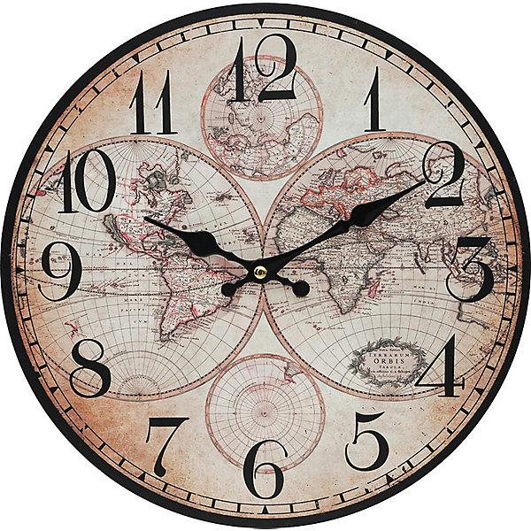 Часы настенные Карта мира, диаметр 34 смДетские предметы интерьера<br>Часы настенные Карта мира, диаметр 34 см.<br><br>Характеристики:<br><br>- Диаметр: 34 см.<br>- Две стрелки часовая и минутная<br>- Батарейка: 1 типа АА (в комплект не входит)<br>- Основные цвета: бледно-розовый, светло-бежевый<br>- Упаковка картонная коробка<br><br>Кварцевые настенные часы с механизмом плавного хода помимо своего прямого назначения – показывать точное время – станут важным элементом декора Вашего дома, квартиры или офиса. Открытый циферблат часов выполнен из листа оргалита с декоративным покрытием, оформлен изображением карты мира. Часовая и минутная стрелки металлические. Часовой механизм закрыт пластиковым корпусом. Часы будут стильным акцентом в интерьере и создадут дополнительный уют и хорошее настроение.<br><br>Часы настенные Карта мира, диаметр 34 см можно купить в нашем интернет-магазине.<br><br>Ширина мм: 345<br>Глубина мм: 340<br>Высота мм: 45<br>Вес г: 2500<br>Возраст от месяцев: 72<br>Возраст до месяцев: 144<br>Пол: Унисекс<br>Возраст: Детский<br>SKU: 5089840