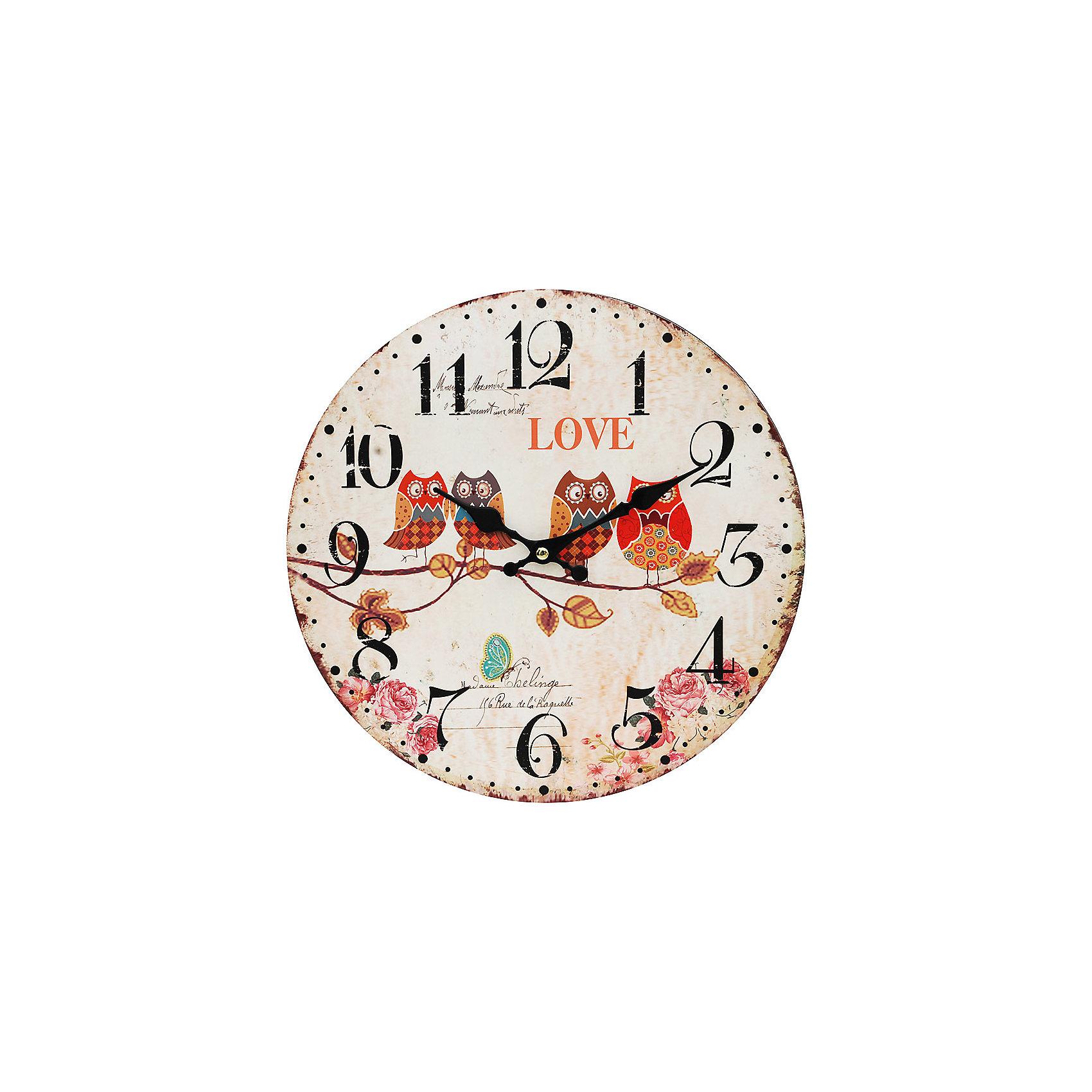Часы настенные Совы на ветке, диаметр 34 смПредметы интерьера<br>Часы настенные Совы на ветке, диаметр 34 см.<br><br>Характеристики:<br><br>- Диаметр: 34 см.<br>- Две стрелки часовая и минутная<br>- Батарейка: 1 типа АА (в комплект не входит)<br>- Упаковка картонная коробка<br><br>Кварцевые настенные часы с механизмом плавного хода помимо своего прямого назначения – показывать точное время – станут важным элементом декора Вашего дома, квартиры или офиса. Открытый циферблат часов выполнен из листа оргалита с декоративным покрытием, оформлен изображением сов, сидящих на ветке. Часовая и минутная стрелки металлические. Часовой механизм закрыт пластиковым корпусом. Часы будут ярким акцентом в интерьере и создадут дополнительный уют и хорошее настроение.<br><br>Часы настенные Совы на ветке, диаметр 34 см можно купить в нашем интернет-магазине.<br><br>Ширина мм: 345<br>Глубина мм: 340<br>Высота мм: 45<br>Вес г: 2500<br>Возраст от месяцев: 72<br>Возраст до месяцев: 144<br>Пол: Унисекс<br>Возраст: Детский<br>SKU: 5089841