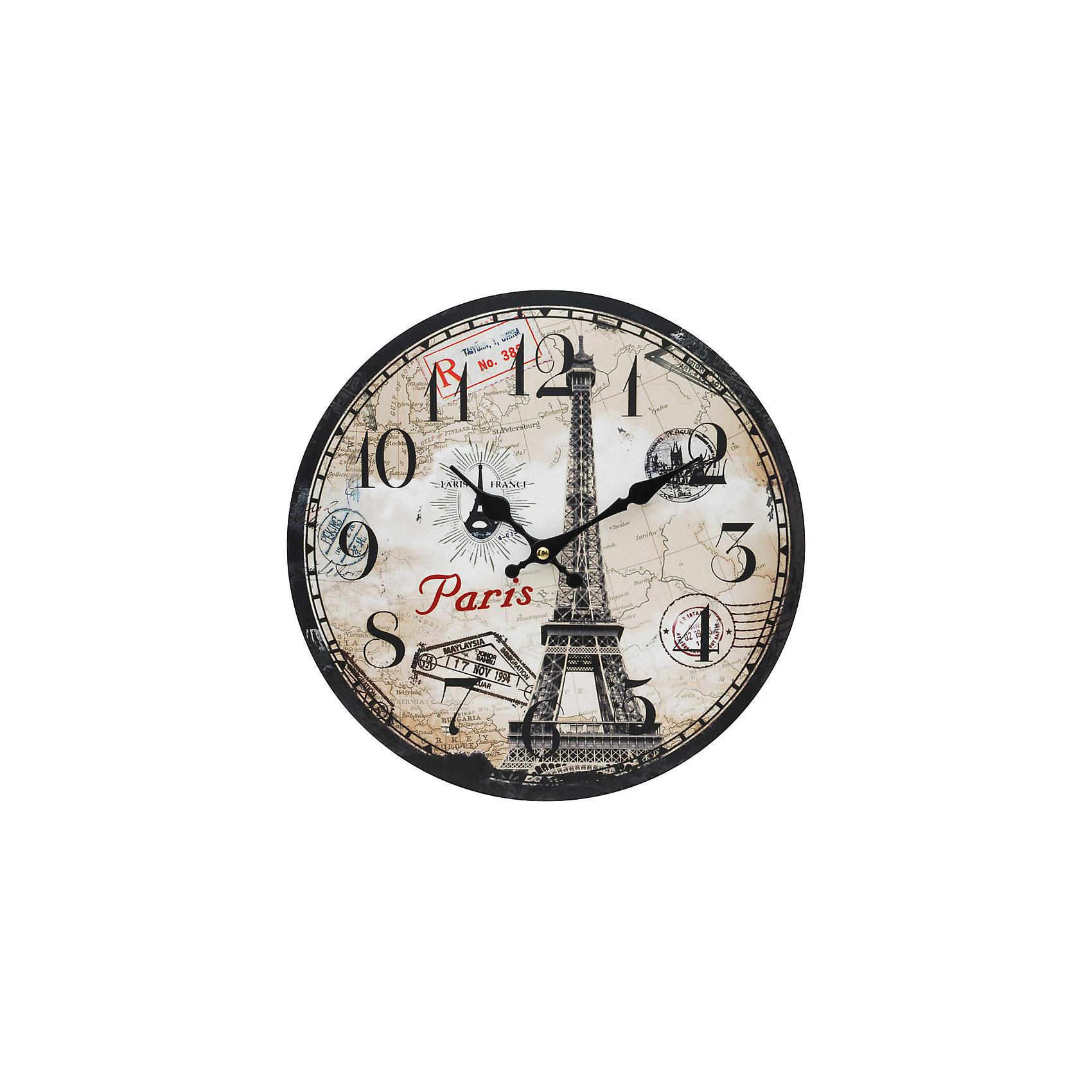 Часы настенные Эйфелева башня, диаметр 34 смПредметы интерьера<br>Часы настенные Эйфелева башня, диаметр 34 см.<br><br>Характеристики:<br><br>- Диаметр: 34 см.<br>- Две стрелки часовая и минутная<br>- Батарейка: 1 типа АА (в комплект не входит)<br>- Упаковка картонная коробка<br><br>Кварцевые настенные часы с механизмом плавного хода помимо своего прямого назначения – показывать точное время – станут важным элементом декора Вашего дома, квартиры или офиса. Открытый циферблат часов выполнен из листа оргалита с декоративным покрытием, оформлен изображением Эйфелевой башни. Часовая и минутная стрелки металлические. Часовой механизм закрыт пластиковым корпусом. Часы будут стильным акцентом в интерьере и создадут дополнительный уют и хорошее настроение.<br><br>Часы настенные Эйфелева башня, диаметр 34 см можно купить в нашем интернет-магазине.<br><br>Ширина мм: 345<br>Глубина мм: 340<br>Высота мм: 45<br>Вес г: 2500<br>Возраст от месяцев: 72<br>Возраст до месяцев: 144<br>Пол: Унисекс<br>Возраст: Детский<br>SKU: 5089842