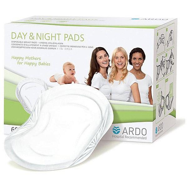 Одноразовые прокладки для бюстгальтера DAY &amp; NIGHT PADS, ARDO, 60 штНакладки и прокладки на грудь<br>Одноразовые прокладки для бюстгальтера DAY &amp; NIGHT PADS, ARDO, 60 штук  - отличное решение для кормящих грудью мам. Они защищают от протекания грудного молока круглосуточно. Сделаны из качественного материала, поэтому не вызовут аллергию. Также прокладки мягкие и удобные при ношении, обеспечивают дополнительную защиту от протекания по краям. Фиксируется прокладка двумя клейкими полосками.<br><br>Дополнительная информация:<br>-В наборе: 60 штук<br>-Состав: нетканое полотно, целлюлозная вата, супервпитывающий полимер<br>-Марка: ARDO<br><br>Одноразовые прокладки для бюстгальтера DAY &amp; NIGHT PADS, ARDO, 60 штук  вы можете приобрести в нашем интернет магазине.<br>Ширина мм: 100; Глубина мм: 100; Высота мм: 200; Вес г: 380; Возраст от месяцев: 216; Возраст до месяцев: 588; Пол: Унисекс; Возраст: Детский; SKU: 5089844;