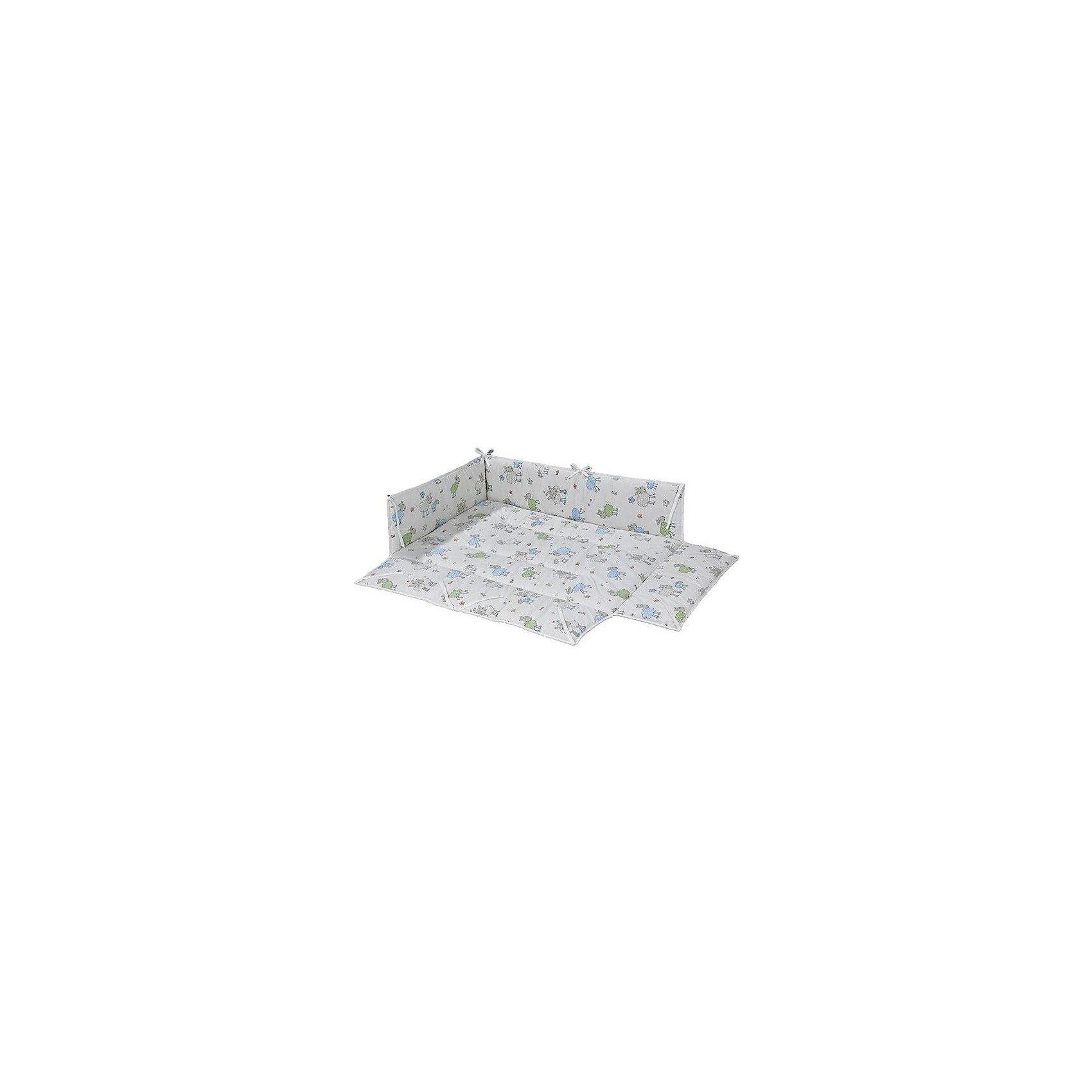 Бампер для манежа AMELI, GeutherПостельное бельё<br>Бампер для манежа AMELI, Geuther<br><br>Характеристики:<br>- Материал: хлопок<br>- Наполнитель: полиэстер<br>- Машинная стирка: доступна<br>- Размер: 102 * 5 * 94,5 см.<br>- Вес: 1 кг.<br>Бампер для манежа AMELI от немецкого бренда, Geuther (Гётер) станет отличным дополнением к вашему манежу, обеспечит мягкость и уют малыша во время игры и сна, а также защитит от сквозняков. Симпатичный дизайн с синими и зелеными овечками, бабочками и совами подойдет как мальчикам, так и девочкам. Нейтральный фон будет хорошо смотреться в любом интерьере комнаты ребенка. Созданный специально для манежа Ameli (Амели), бампер идеально заполняет всю поверхность и фиксируется надежными завязками. Отличное немецкое качество бампера обеспечит необходимую заботу о крохе.<br><br>Бампер для манежа AMELI, Geuther (Гётер) можно купить в нашем интернет-магазине.<br>Подробнее:<br>• Для детей в возрасте: от 0 до 24 месяцев <br>• Номер товара: 5089868<br>Страна производитель: Германия<br><br>Ширина мм: 200<br>Глубина мм: 1060<br>Высота мм: 900<br>Вес г: 1400<br>Возраст от месяцев: 0<br>Возраст до месяцев: 24<br>Пол: Унисекс<br>Возраст: Детский<br>SKU: 5089868