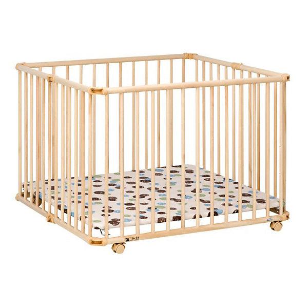 Кроватка-манеж 94.5*102см Lucilee, Geuther, натуральныйДетские манежи<br>Кроватка-манеж 94.5*102см Lucilee, Geuther (Гётер), натуральный.<br><br>Характеристики:<br><br>• три уровня по высоте<br>• мягкое непромокаемое дно<br>• бампер из мягкой ткани защитит кроху от сквозняка<br>• поворотные колеса с фиксацией<br>• легко собрать и разобрать<br>• компактен при хранении<br>• изготовлен из экологически чистых материалов<br>• материалы: бук с лаковым покрытием на водной основе, ДСП, полимид, поливинилхлорид, синтепон<br>• цвет: натуральный<br>• рисунок: круги<br>• размер манежа: 94,5х102х73,5 см<br>• размер упаковки: 102х94х21 см<br>• вес: 22 кг<br><br>Кроватка-манеж Lucilee, Geuther сочетает в себе функции манежа и спального места. Мягкий бампер защитит кроху от сквозняка, а непромокаемое дно обеспечит комфорт во время сна или игры. Кроватка-манеж оснащена поворотными колесами с возможностью фиксации. Высоту дна можно регулировать в соответствии с возрастом и ростом ребенка. Кроватка-манеж Lucilee легко складывается и очень компактна при хранении и транспортировке.<br><br>Кроватку-манеж 94.5*102см Lucilee, Geuther (Гётер), натуральный можно купить в нашем интернет-магазине.<br><br>Ширина мм: 1100<br>Глубина мм: 970<br>Высота мм: 200<br>Вес г: 22000<br>Возраст от месяцев: 0<br>Возраст до месяцев: 24<br>Пол: Унисекс<br>Возраст: Детский<br>SKU: 5089877