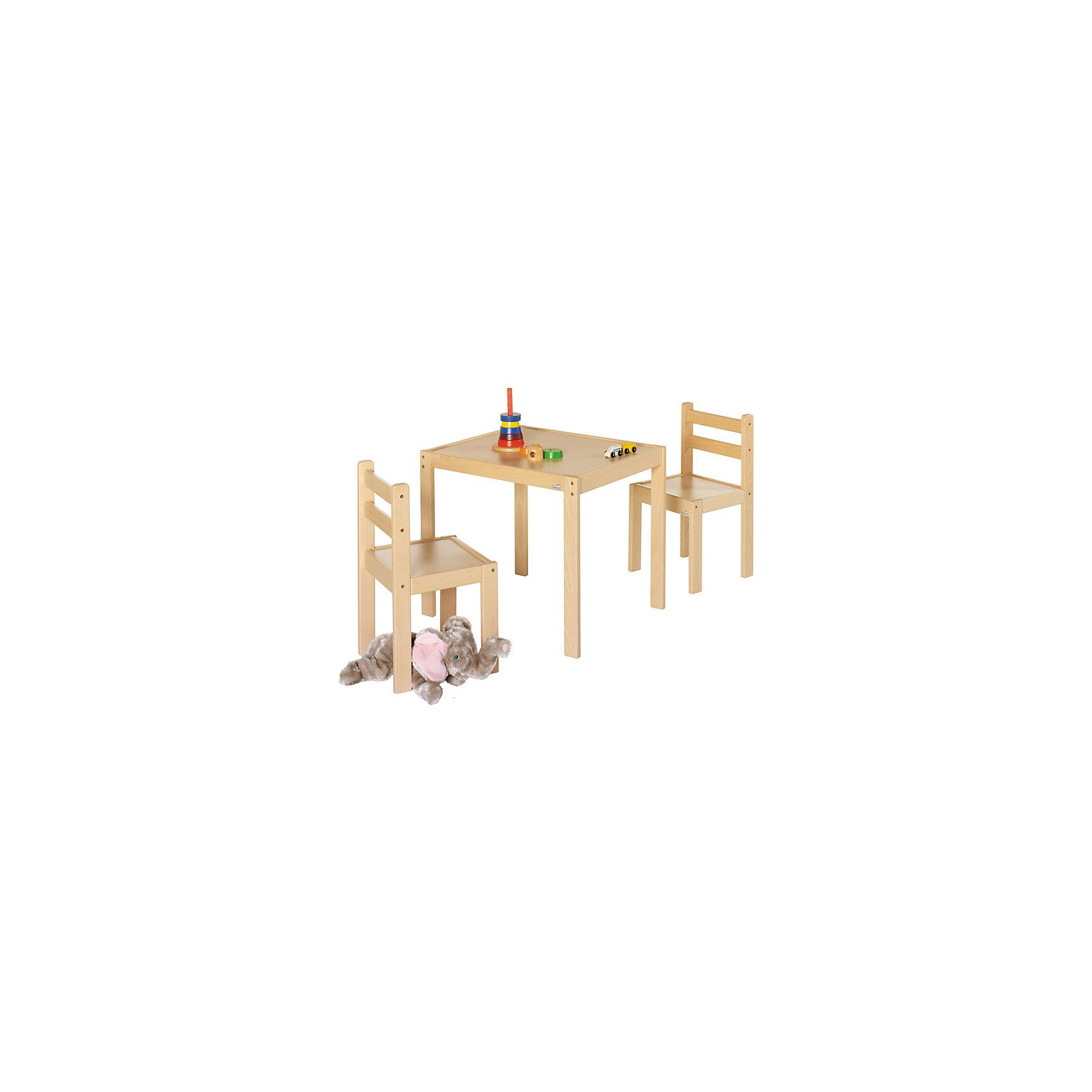Комплект игровой мебели Kalle&amp;Co (стол и 2 стула), GeutherМебель<br>Комплект игровой мебели Kalle&amp;Co (стол и 2 стула), Geuther<br><br>Характеристики:<br>- В комплект входит: 2 стула, 1 стул<br>- Материал: дерево/металл<br>- Размер стола: 53 * 64 см., высота 55 см.<br>- Высота стульев: 32 см.<br>Комплект игровой мебели Kalle&amp;Co от немецкого бренда товаров для безопасности детей Geuther (Гётер) поможет создать ребенку свое пространство для игр и творчества. Лаконичный стол и два стула в комплекте предоставят простор для фантазии ребенка. Он может играть с любимыми мишками в чаепитие или школу, может организовать свое рабочее место с игрушечным ноутбуком, как у папы или придумать что-то еще. Комплект изготовлен из экологически безопасного материала – дерева и покрашен нетоксичной краской. Минималистичный дизайн и цвет светлого дерева подойдет к большинству интерьеров. Отличное немецкое качество обеспечивает должную заботу о крохе. <br>Комплект игровой мебели Kalle&amp;Co (стол и 2 стула), Geuther (Гётер) можно купить в нашем интернет-магазине.<br>Подробнее:<br>• Для детей в возрасте: от 1,5 до 5 лет <br>• Номер товара: 5089886<br>Страна производитель: Германия<br><br>Ширина мм: 650<br>Глубина мм: 550<br>Высота мм: 300<br>Вес г: 12000<br>Возраст от месяцев: 12<br>Возраст до месяцев: 84<br>Пол: Унисекс<br>Возраст: Детский<br>SKU: 5089886