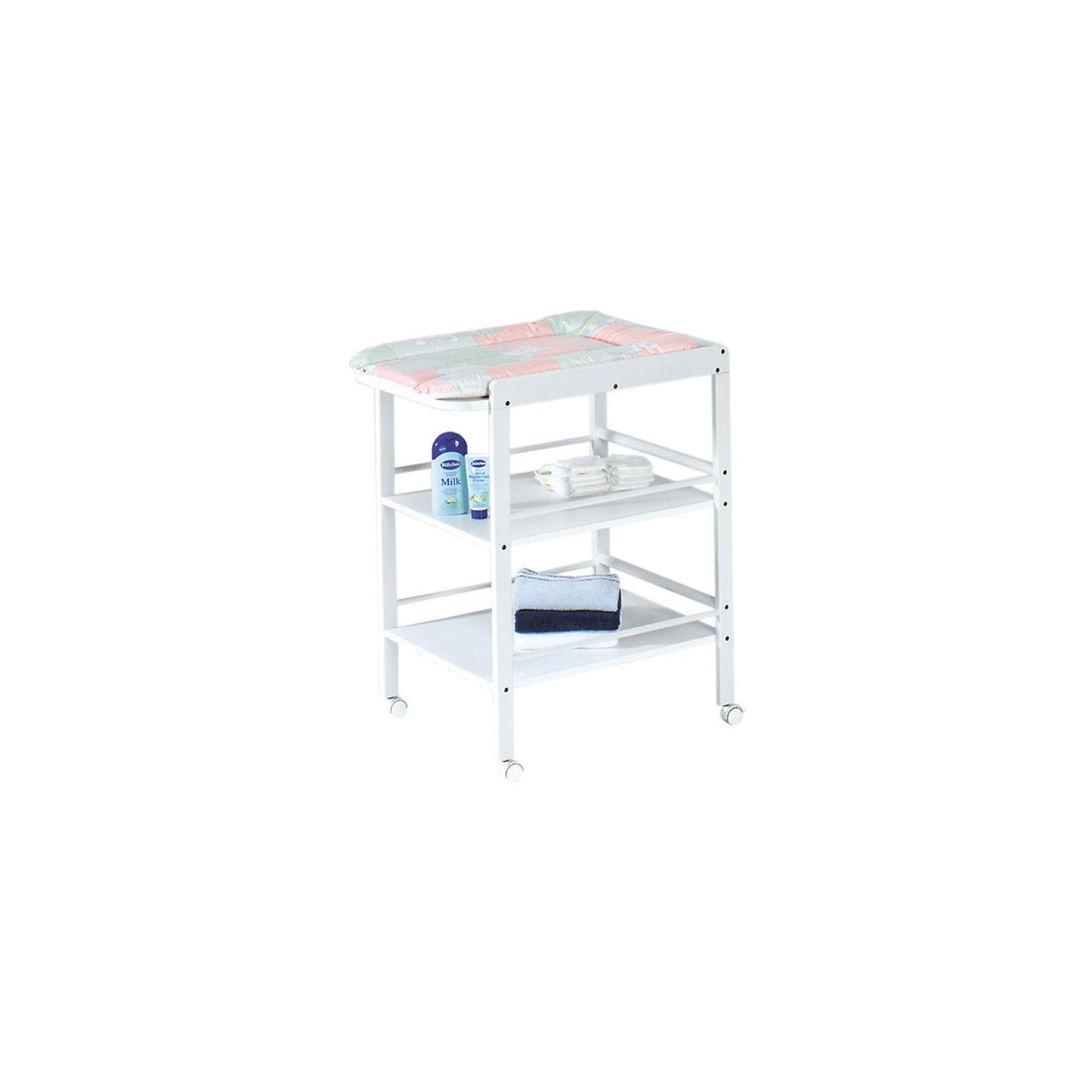 Пеленальный столик CLARISSA, Geuther, белыйВсе для пеленания<br>Стол для пеленания CLARISSA, Geuther (Гётер), белый.<br><br>Характеристики:<br><br>• имеет две вместительные полки с трехсторонними бортами<br>• удобное место для пеленания<br>• оснащен поворотными колесами с фиксаторами<br>• изготовлен из дерева<br>• материал: массив бука<br>• размеры: 56х90,5х74,5 см<br>• ширина пеленального места: 56 см<br>• рабочая высота: 86 см<br>• цвет: белый<br><br>ВНИМАНИЕ! Мягкий пеленальный матрасик в комлект не входит и пиробретается отдельно.<br><br>Стол для пеленания CLARISSA, Geuther имеет большую ширину пеленального места и отлично подойдет для переодевания малыша, гигиенических процедур и массажа. Стол оснащен двумя вместительными полками с бортиками, предотвращающими падение вещей. На полки удобно положить одежду, подгузники, салфетки и другие предметы, необходимые для гигиенических процедур. Ухаживать за малышом на таком чудесном столике будет очень удобно и приятно!<br><br>Купить стол для пеленания CLARISSA, Geuther (Гётер), белый вы можете в нашем интернет-магазине.<br><br>Ширина мм: 750<br>Глубина мм: 400<br>Высота мм: 950<br>Вес г: 17000<br>Возраст от месяцев: 0<br>Возраст до месяцев: 12<br>Пол: Унисекс<br>Возраст: Детский<br>SKU: 5089896