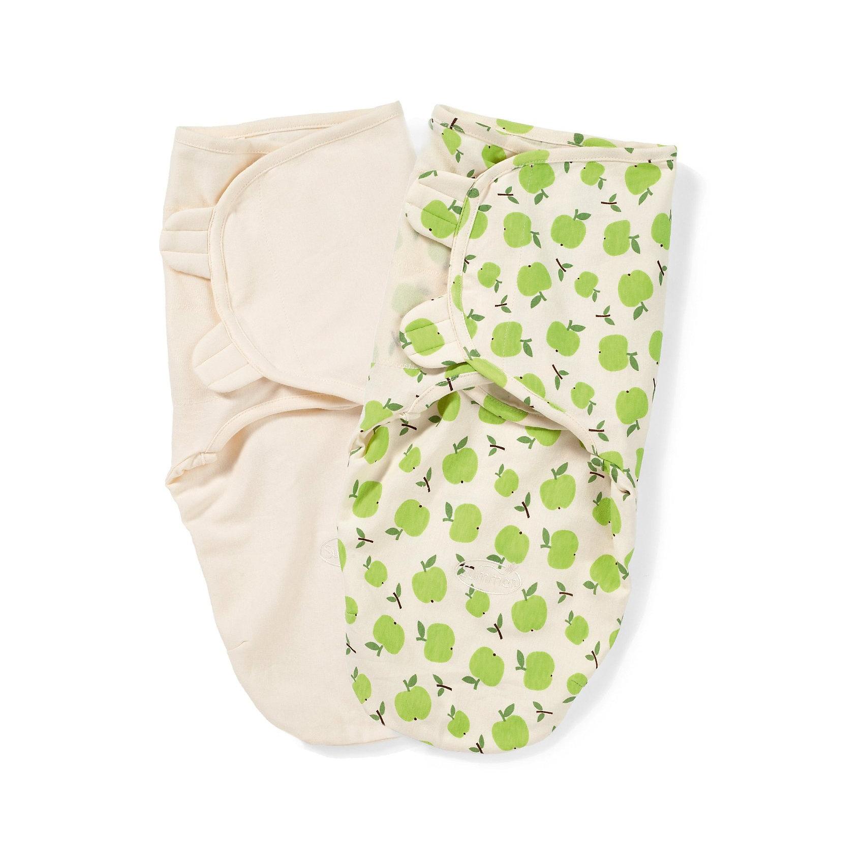 Summer Infant Конверт на липучке SwaddleMe Organic®, размер S/M, (2 шт), , Summer Infant, зеленый/яблоки цена и фото