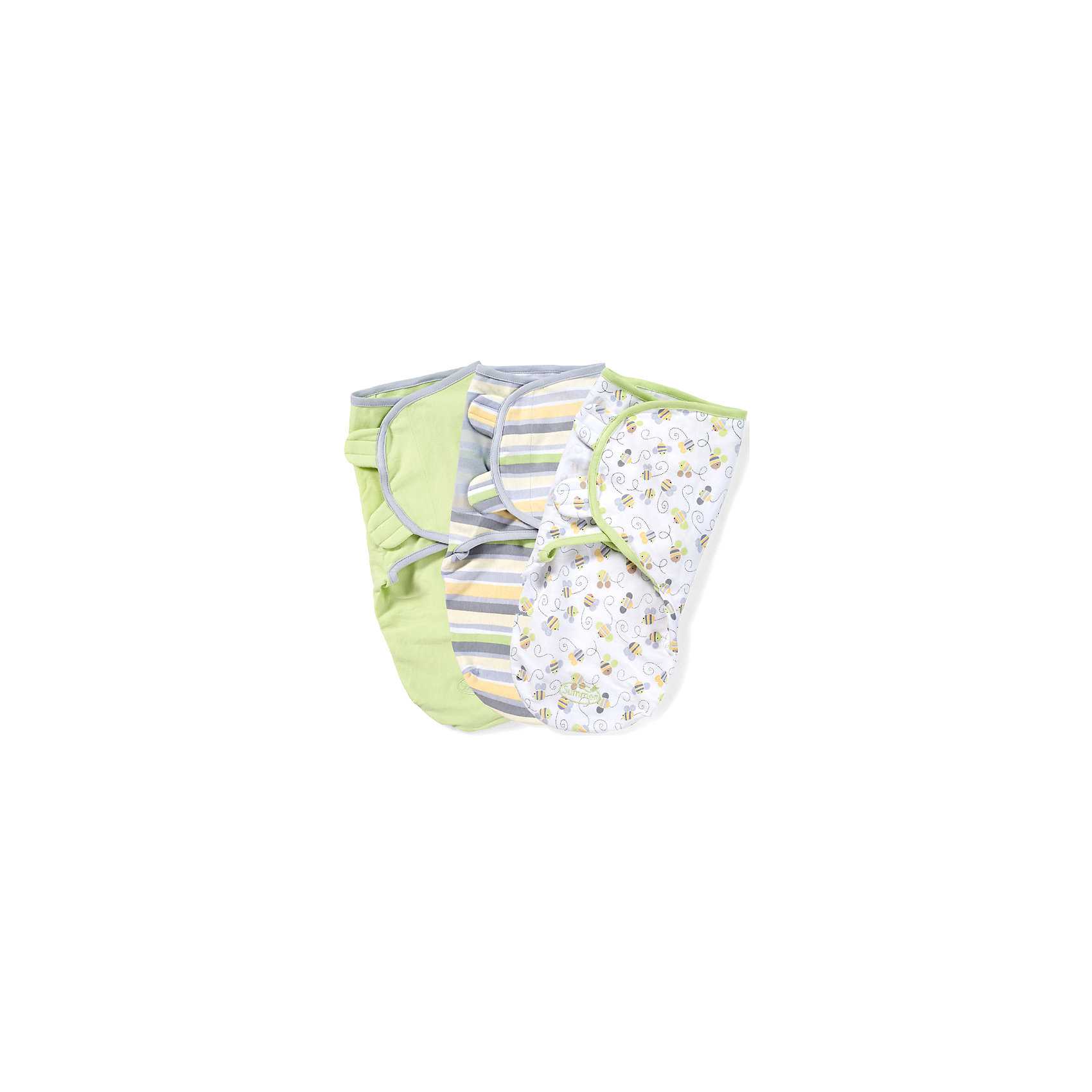 Summer Infant Конверт на липучке SwaddleMe, размер S/M, (3шт), , Summer Infant, нейтральная, пчелки summer infant 54000 конверт swaddleme для пеленания на липучке размер s m 3 шт нейтральная пчелки