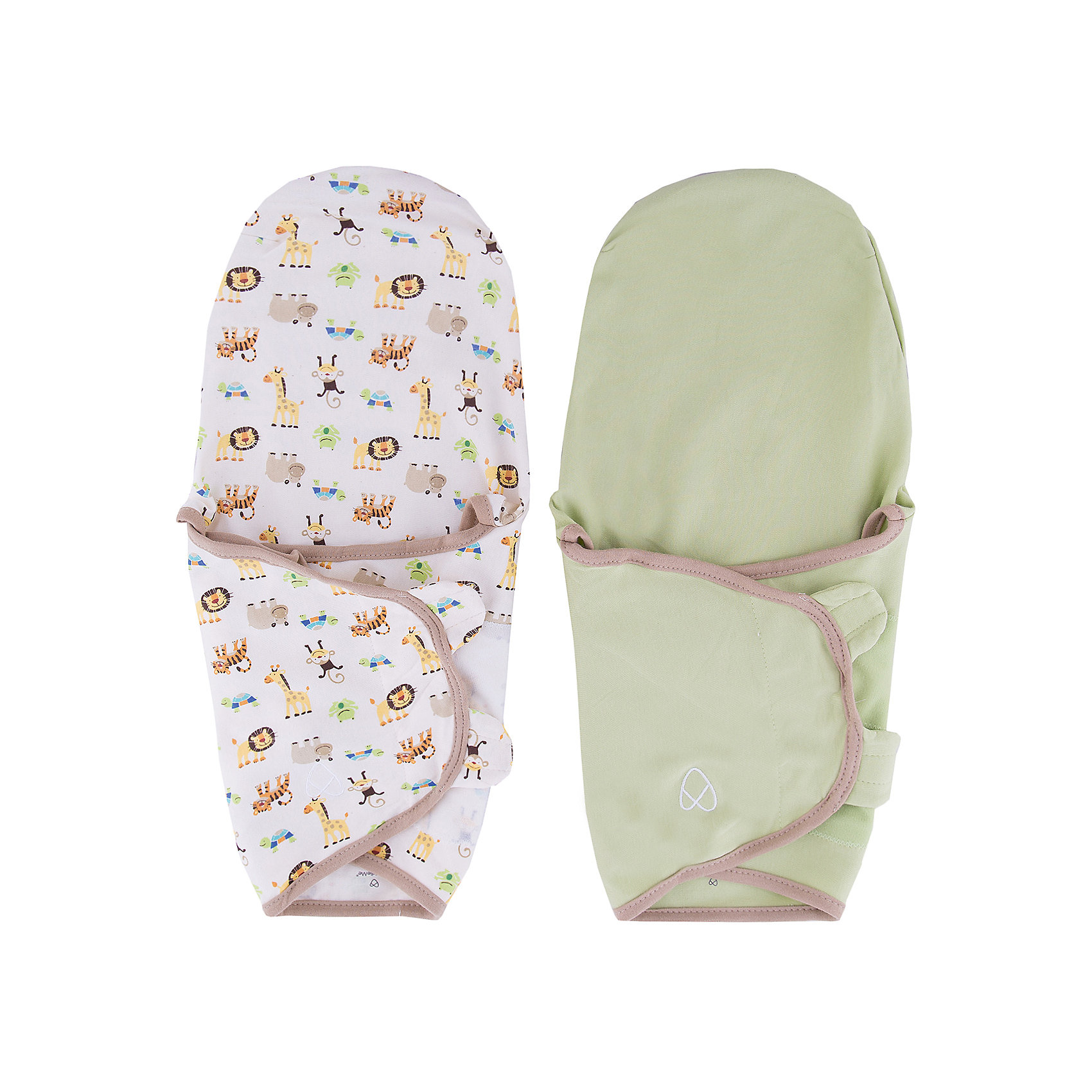 Summer Infant Конверт на липучке SwaddleMe 2 шт, размер S/M, , Summer Infant, джунгли
