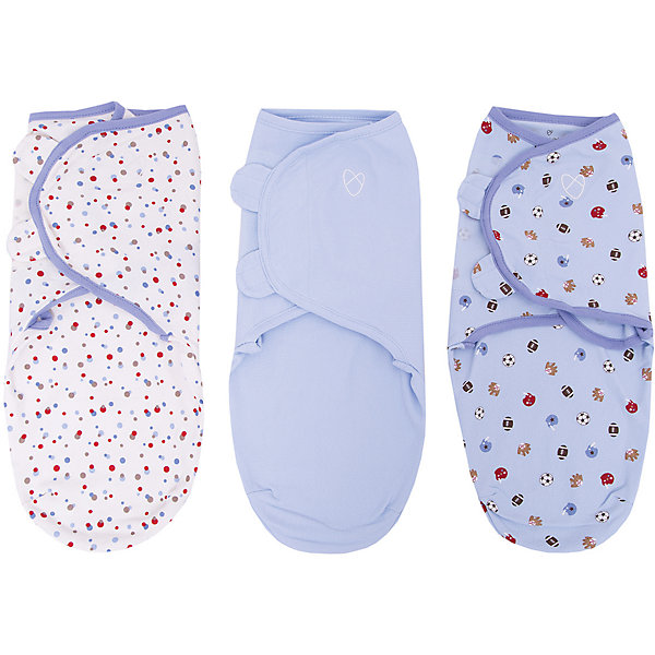 Конверт на липучке SwaddleMe, размер S/M, (3шт), Summer Infant, голубой/спорт