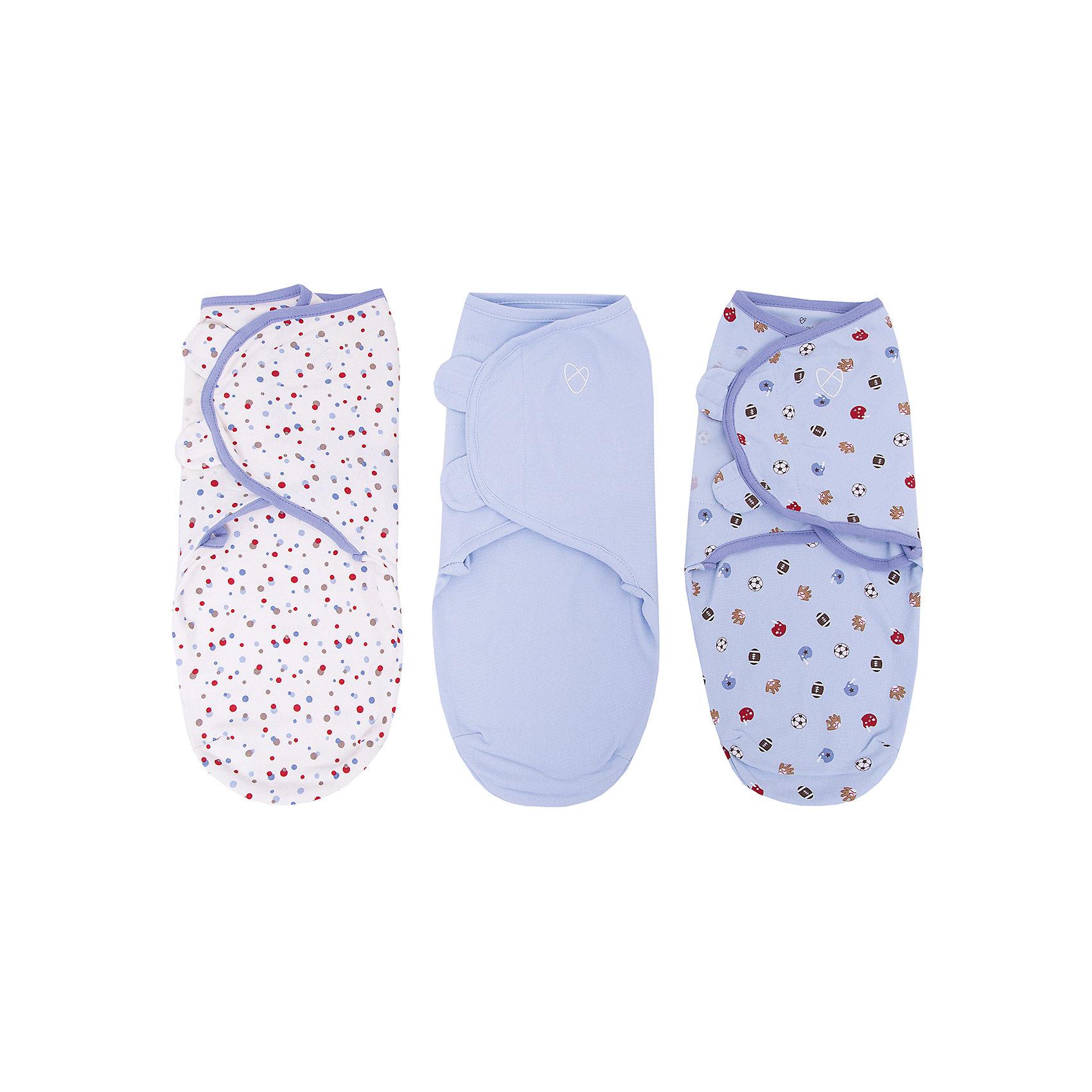 Summer Infant Конверт на липучке SwaddleMe, размер S/M, (3шт), Summer Infant, голубой/спорт цена и фото