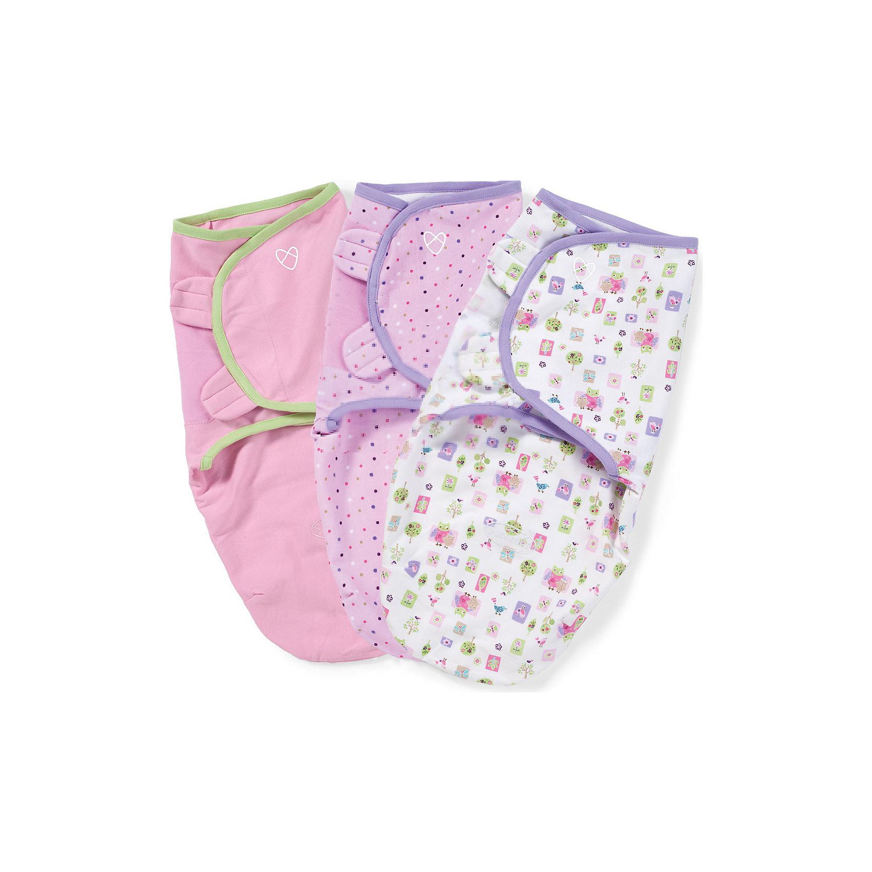 Summer Infant Конверт на липучке SwaddleMe, размер S/M, (3шт), Summer Infant, розовый с совами цена и фото