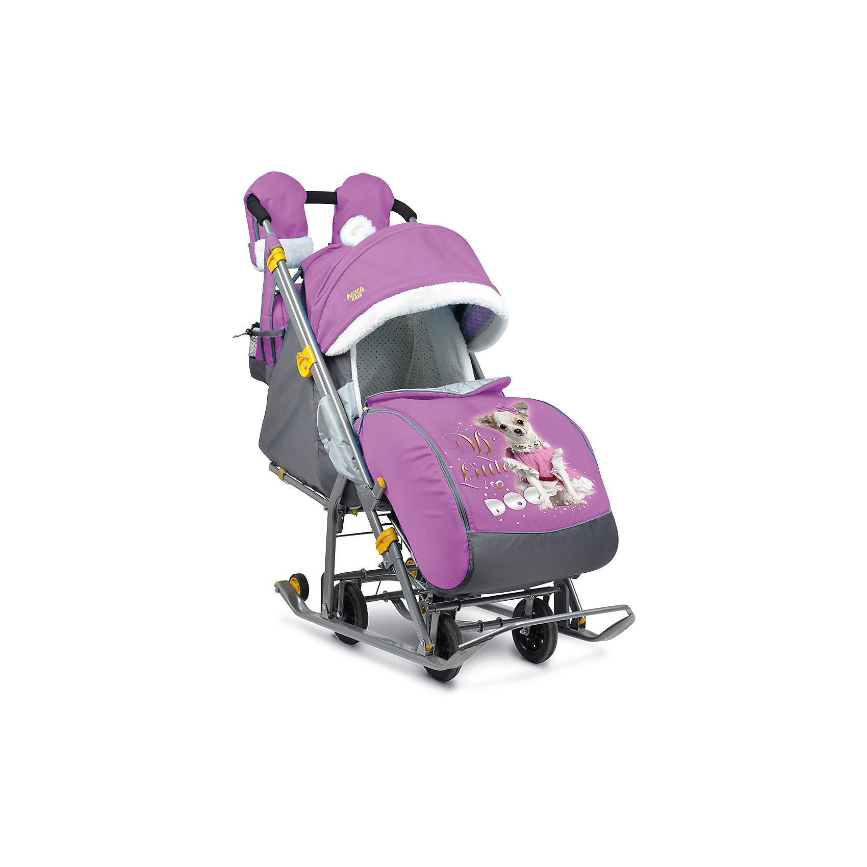 Санки-коляска Ника детям 7-2 Dog, орхидеяСанки-коляска Ника детям 7-2 – легкое передвижение в снежную погоду. <br>Удобные санки оснащены пятиточечными ремнями безопасности, которые предотвращают выпадение малыша из колясок даже при очень быстрой ходьбе. Благодаря широким полозьям и транспортировочным колесам санки-коляску очень легко перемещать и возить как по бездорожью, так и по дорогам с небольшим количеством снега. Чехол для ножек и капюшон с окошком позволяют малышу укрыться от снега, ветра, метели и не заскучать. Спинка регулируется в трех положениях, а специальная подножка позволяет ребенку удобно разместиться лежа. Ручка для родителей имеет два положения: сзади санок и спереди, и оснащена теплыми варежками для долгих прогулок. В комплект к санкам идет вместительная сумка.<br><br>Дополнительная информация:<br><br>- материал: металл, полиэсте <br>- матрасик в комплекте<br>- размер в разложенном виде (с выдвинутой колесной базой):105х44,5х109,5 см<br>- высота ручки от земли: 93 см<br>- размер сиденья: 32 х 29 см<br>- размер спинки: 33х43 см<br>- размер в сложенном виде: 110,5х44,5х28 см<br>- вес: 10 кг<br>- максимальный вес ребенка: 25 кг<br><br>Санки-коляска Ника детям 7-2, Dog, орхидея можно купить в нашем магазине.<br><br>Ширина мм: 1105<br>Глубина мм: 445<br>Высота мм: 280<br>Вес г: 11000<br>Возраст от месяцев: 12<br>Возраст до месяцев: 48<br>Пол: Унисекс<br>Возраст: Детский<br>SKU: 5091954