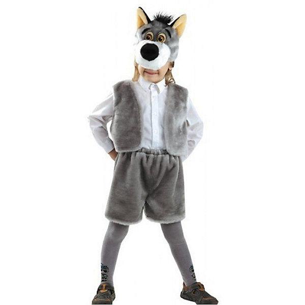Карнавальный костюм Волк (мех), БатикКарнавальные костюмы для мальчиков<br>Карнавальный костюм Волк (мех), Батик<br><br>Характеристики:<br><br>• Материал:  мех искусственный, волокно полиэфирное, полотно трикотажное. <br>• Цвет: серый.<br>• В комплект входит: серая маска с мордочкой волка, серенькая жилетка и шорты.<br><br>Какой же детский утренник без карнавального костюма? Российская фирма Батик предлагает карнавальный костюм Волк, который поможет вашему ребенку  побыть сказочным героем.<br><br>Карнавальный костюм Волк (мех), Батик, можно купить в нашем интернет-магазине!<br><br>Ширина мм: 500<br>Глубина мм: 50<br>Высота мм: 700<br>Вес г: 600<br>Цвет: белый<br>Возраст от месяцев: 48<br>Возраст до месяцев: 60<br>Пол: Мужской<br>Возраст: Детский<br>Размер: 28<br>SKU: 5092497