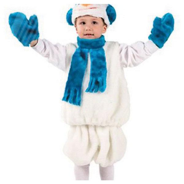 Карнавальный костюм Снеговик (мех), БатикМаски и карнавальные костюмы<br>Карнавальный костюм Снеговик (мех), Батик<br><br>Характеристики:<br><br>• Материал:  мех искусственный, волокно полиэфирное, полотно трикотажное. <br>• Цвет: белый, синий.<br>• В комплект входит: маска, безрукавка, шорты, варежки.<br><br>Какое же новогоднее приключение без забавного снеговика? Карнавальный костюм Снеговик от Батик, поможет вашему ребенку создать образ веселого и забавного снеговика. Любой мальчик в костюмчике Снеговик будет располагать к себе внимание на любом детском празднике или спектакле. Костюм состоит из забавных и белоснежных объёмных шорт, объёмной безрукавки и ярким синим шарфом, маска в виде головы снеговика белого цвета и синего цвета варежки. Обязательный атрибут Снеговика- это нос- морковка на маске. Весь костюмчик выполнен из качественного искусственного меха из серии Батик-Мех.<br><br>Карнавальный костюм Снеговик (мех), Батик, можно купить в нашем интернет-магазине!<br><br>Ширина мм: 500<br>Глубина мм: 50<br>Высота мм: 700<br>Вес г: 600<br>Цвет: белый<br>Возраст от месяцев: 48<br>Возраст до месяцев: 60<br>Пол: Мужской<br>Возраст: Детский<br>Размер: 28<br>SKU: 5092499