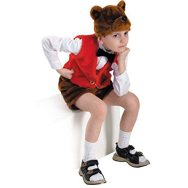 Карнавальный костюм Медведь Михей, БатикКарнавальные костюмы для мальчиков<br>Карнавальный костюм Медведь Михей, Батик<br><br>Характеристики:<br><br>• Материал:  искусственный мех. <br>• Цвет: коричневый, красный.<br>• В комплект входит: шапочка, шорты, жилет.<br><br>Карнавальный костюм «Медведь Михей» придуман для мальчиков, которые хотят повеселиться сами и позабавить окружающих. Потешность костюмчику придают оригинальные шортики, жилетка и шапочка в виде головы косолапого. Шорты и голова по цвету дублируют природный окрас мишки, а жилет, в знак того, что это всё-таки карнавальный костюмчик, красного цвета. Все элементы карнавального костюма «Медведь Михей» выполнены из качественного искусственного меха. У вас есть выбор, в какой комбинации надеть такой костюм ребёнку: с торжественной белой рубашечкой и гольфиками, или же надеть элементы костюма, например, на трикотажный комплект. В таком карнавальном костюме «Медведь Михей» ваш мальчик получит максимальное удовольствие от праздника и подарит радость окружающим!<br><br>Карнавальный костюм Медведь Михей, Батик, можно купить в нашем интернет- магазине.<br>Ширина мм: 500; Глубина мм: 50; Высота мм: 700; Вес г: 600; Возраст от месяцев: 48; Возраст до месяцев: 60; Пол: Мужской; Возраст: Детский; Размер: 28; SKU: 5092513;