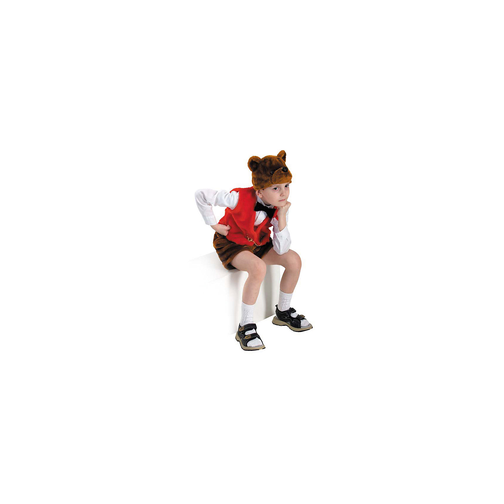 Карнавальный костюм Медведь Михей, БатикКарнавальный костюм Медведь Михей, Батик<br><br>Характеристики:<br><br>• Материал:  искусственный мех. <br>• Цвет: коричневый, красный.<br>• В комплект входит: шапочка, шорты, жилет.<br><br>Карнавальный костюм «Медведь Михей» придуман для мальчиков, которые хотят повеселиться сами и позабавить окружающих. Потешность костюмчику придают оригинальные шортики, жилетка и шапочка в виде головы косолапого. Шорты и голова по цвету дублируют природный окрас мишки, а жилет, в знак того, что это всё-таки карнавальный костюмчик, красного цвета. Все элементы карнавального костюма «Медведь Михей» выполнены из качественного искусственного меха. У вас есть выбор, в какой комбинации надеть такой костюм ребёнку: с торжественной белой рубашечкой и гольфиками, или же надеть элементы костюма, например, на трикотажный комплект. В таком карнавальном костюме «Медведь Михей» ваш мальчик получит максимальное удовольствие от праздника и подарит радость окружающим!<br><br>Карнавальный костюм Медведь Михей, Батик, можно купить в нашем интернет- магазине.<br><br>Ширина мм: 500<br>Глубина мм: 50<br>Высота мм: 700<br>Вес г: 600<br>Цвет: разноцветный<br>Возраст от месяцев: 48<br>Возраст до месяцев: 60<br>Пол: Мужской<br>Возраст: Детский<br>Размер: 28<br>SKU: 5092513